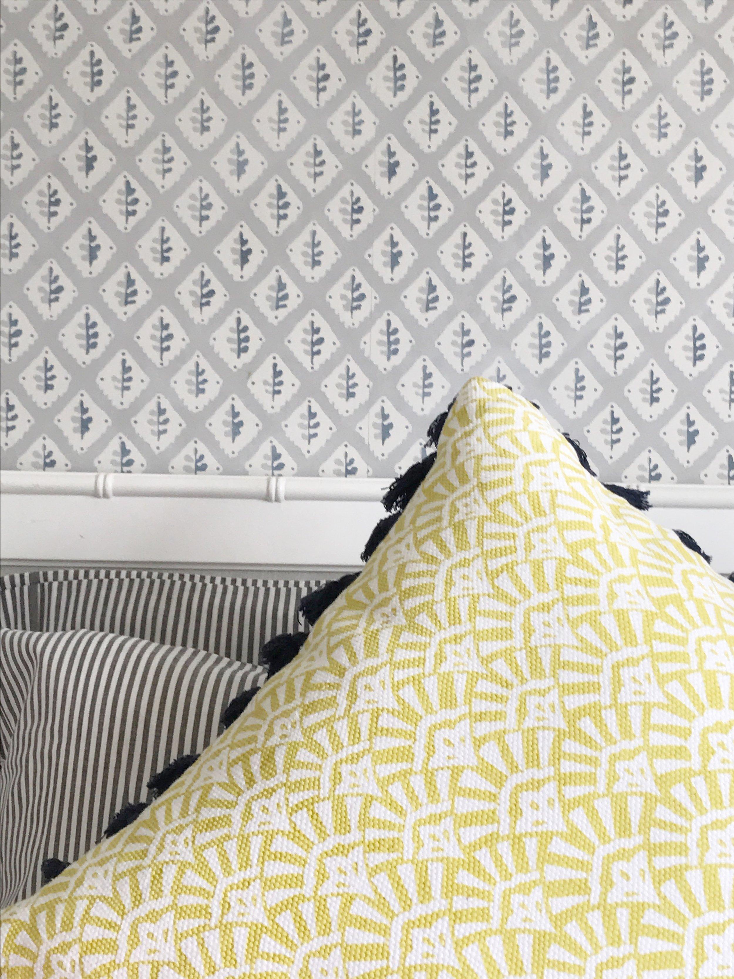 Bright yellow with light grey bedroom decor ideas.