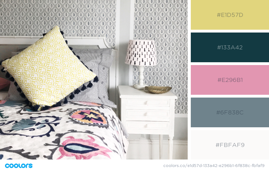 Colour palette that works beautifully with light grey decor by Camilla Pearl.