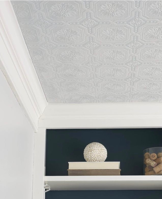 Photo credit Young House Love at Pop Sugar. Adding textured ceiling to a room for added depth and interest.