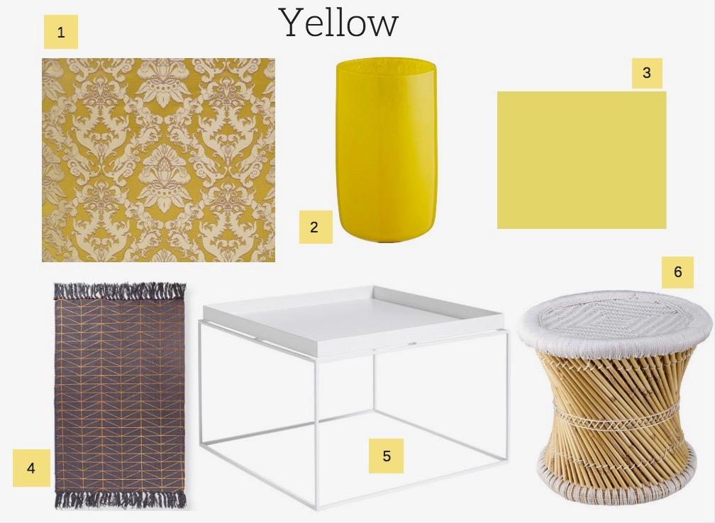 Yellow decor ideas for interior design.