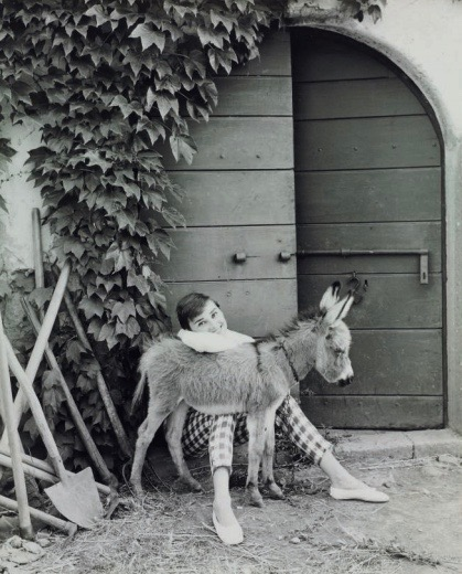 Audrey Hepburn photo from Christie's auction house September 2017 -Audrey Hepburn with Bimba the Donkey at the Villa Rolli, Cecchina, 23 June, copyright Vogue Magazine by Norman Parkinson'