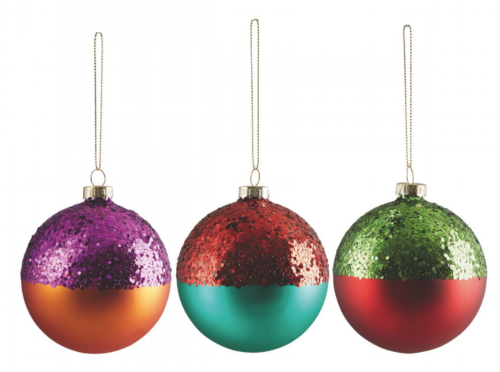 Glass dipped baubles by Habitat