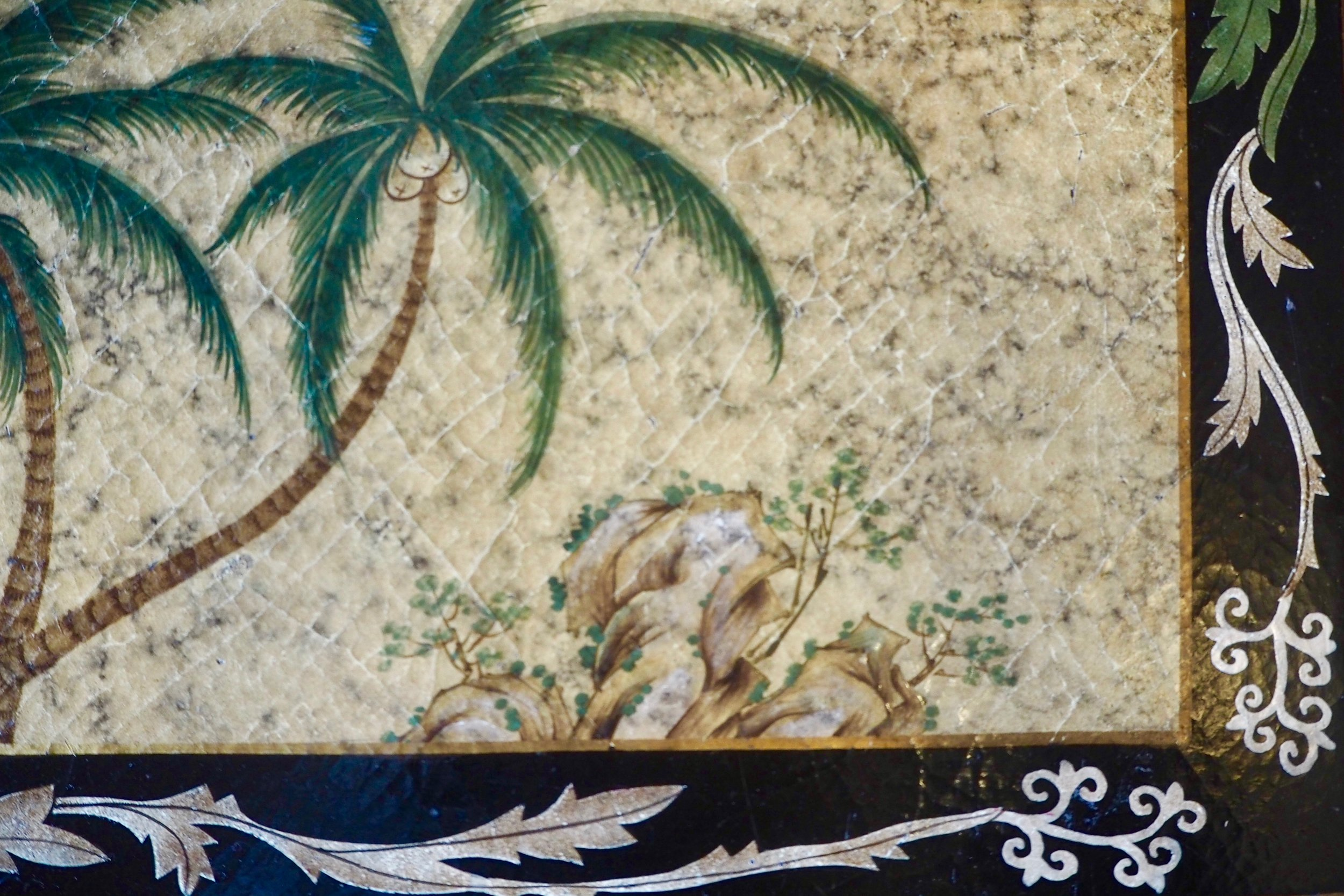 Table detail in the palm print room at Villeroy & Boch.jpg