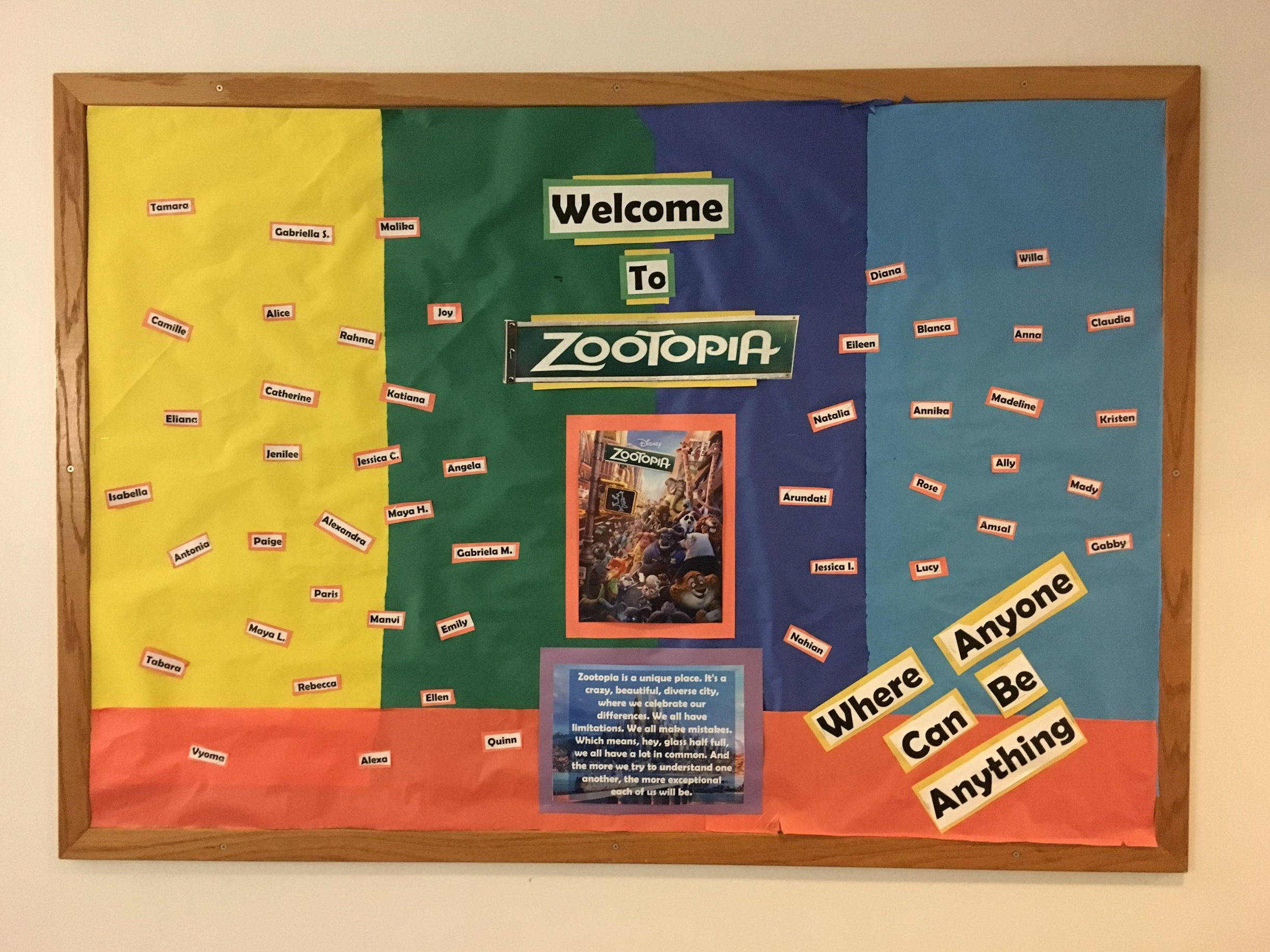 Rebecca made this bulletin board with the names of all of the people on my floor, featuring our floor theme: Zootopia!