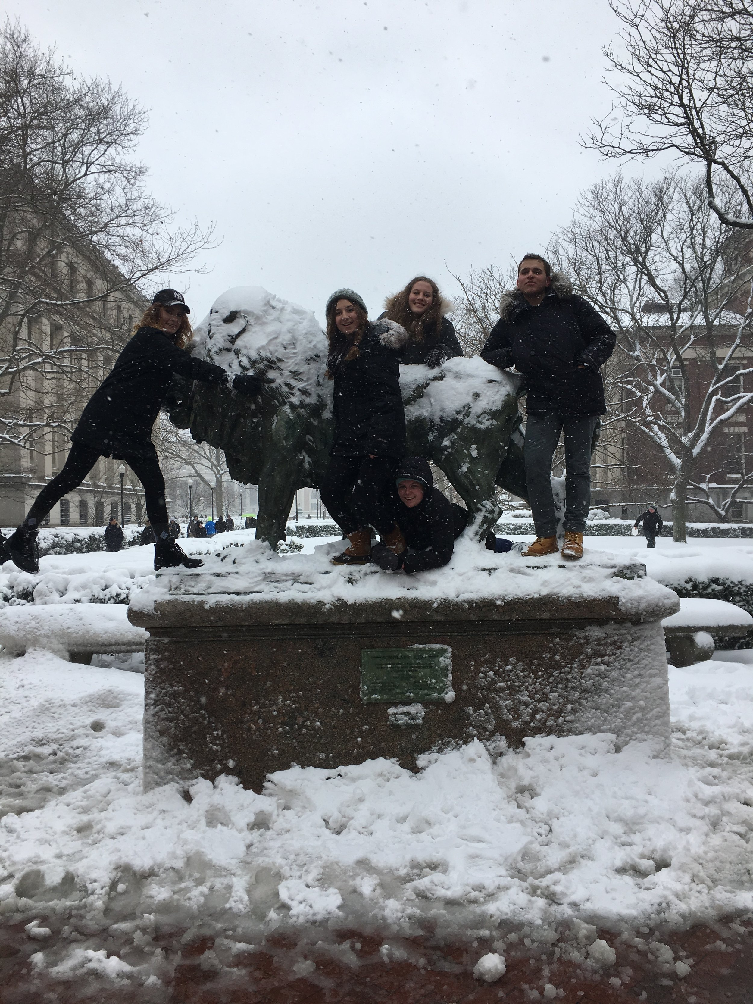 My friends and I posing with one of the Columbia lions on the infamous snow day! (And don't ask me how hard it was to climb onto that lion. I still may have some bruises from the experience.)