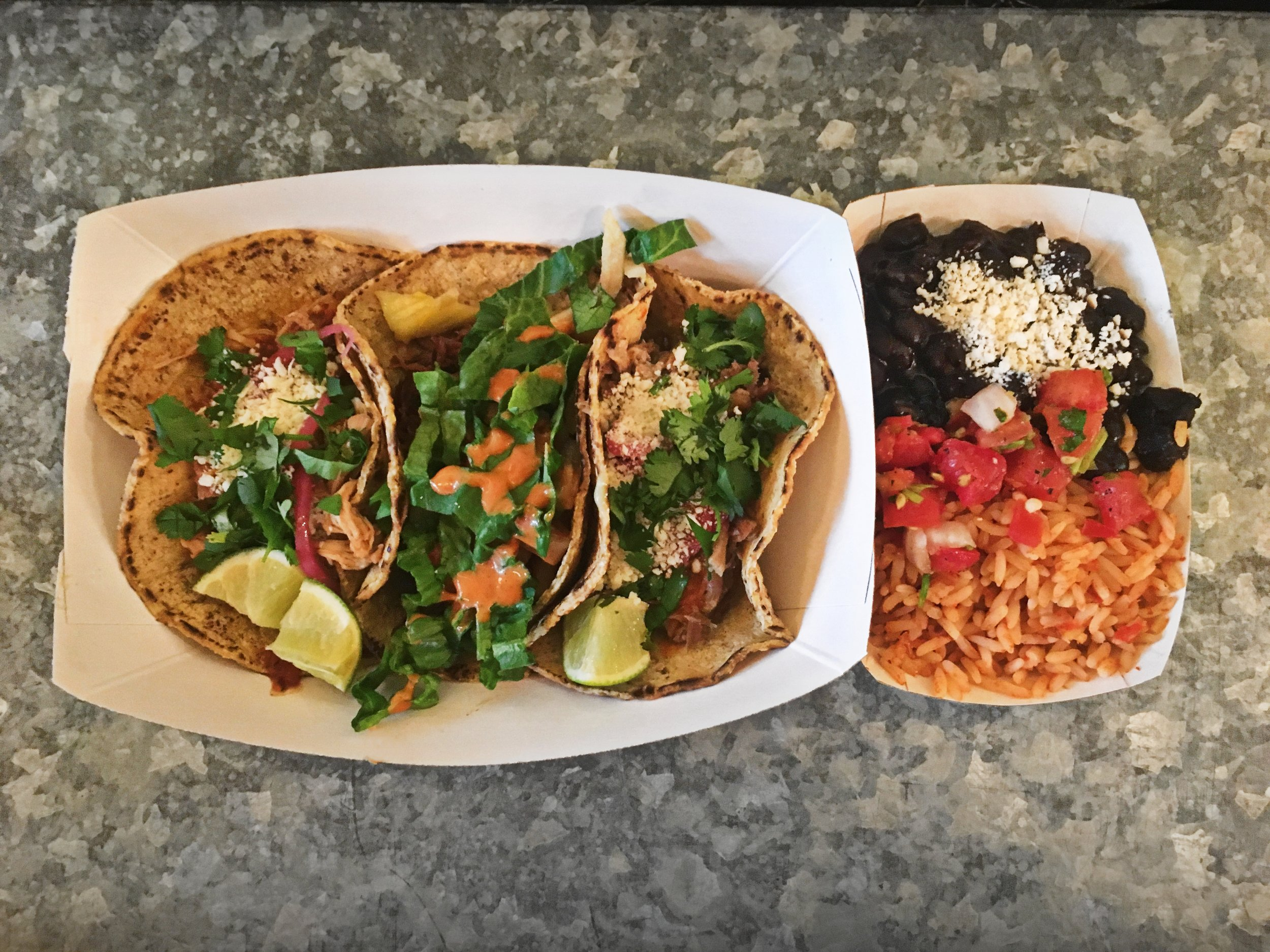 Taco combination with rice and beans