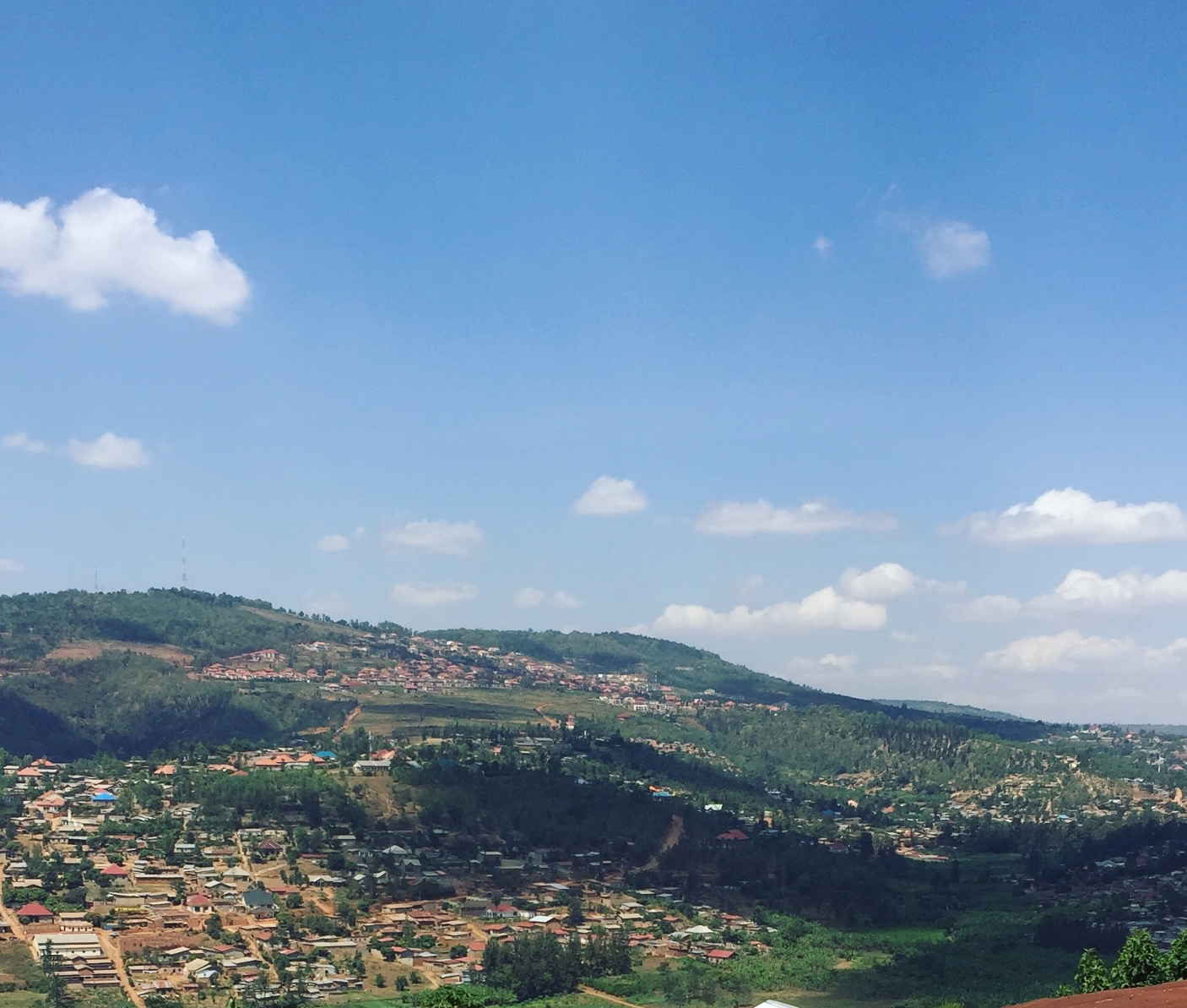 A hillside in Kigali, Rwanda, where the author plans to study abroad.