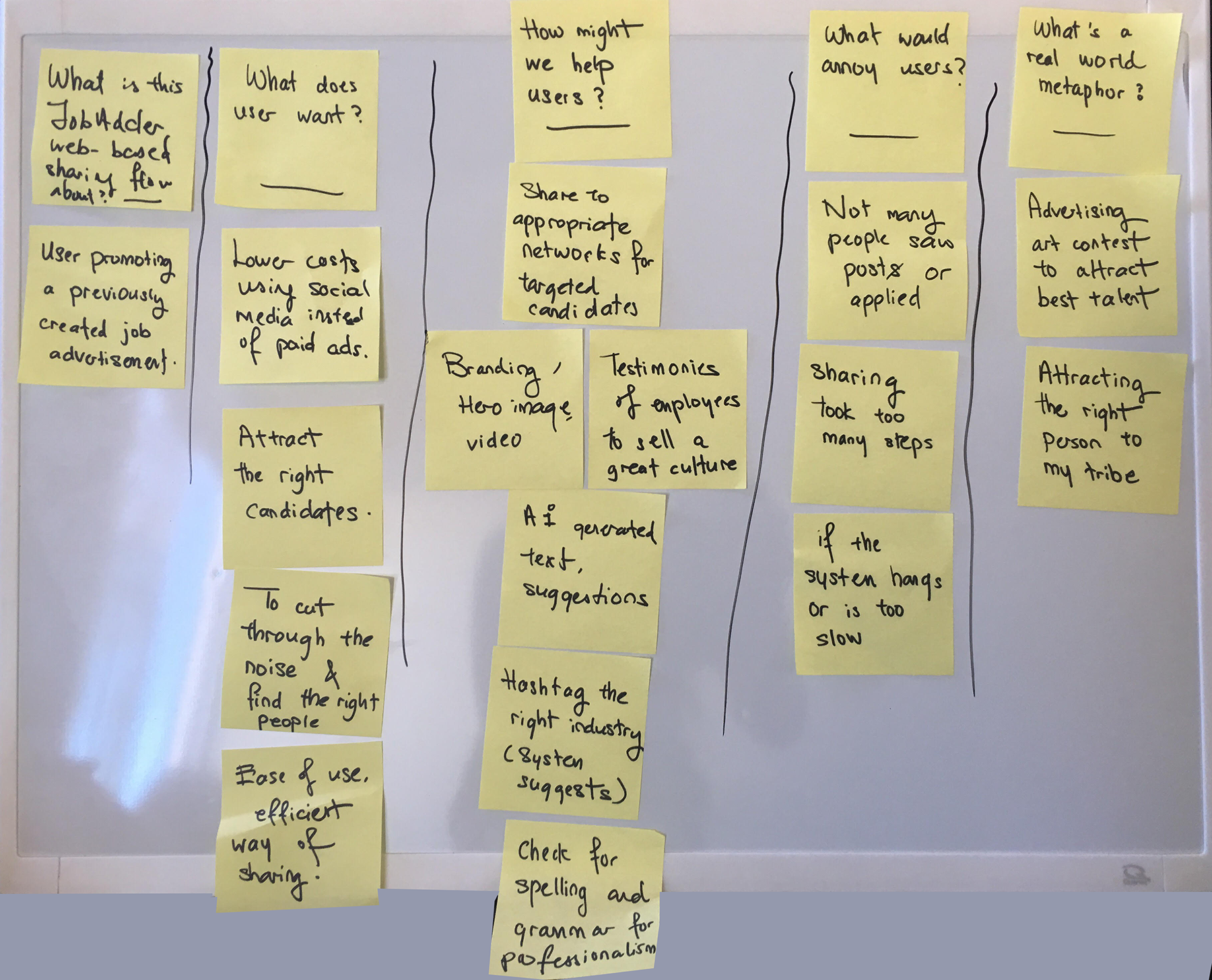 Unpacking the assumptions - Based on the quick research I did online, I went on to brainstorm the business and user assumptions to inform on the design of the workflow.