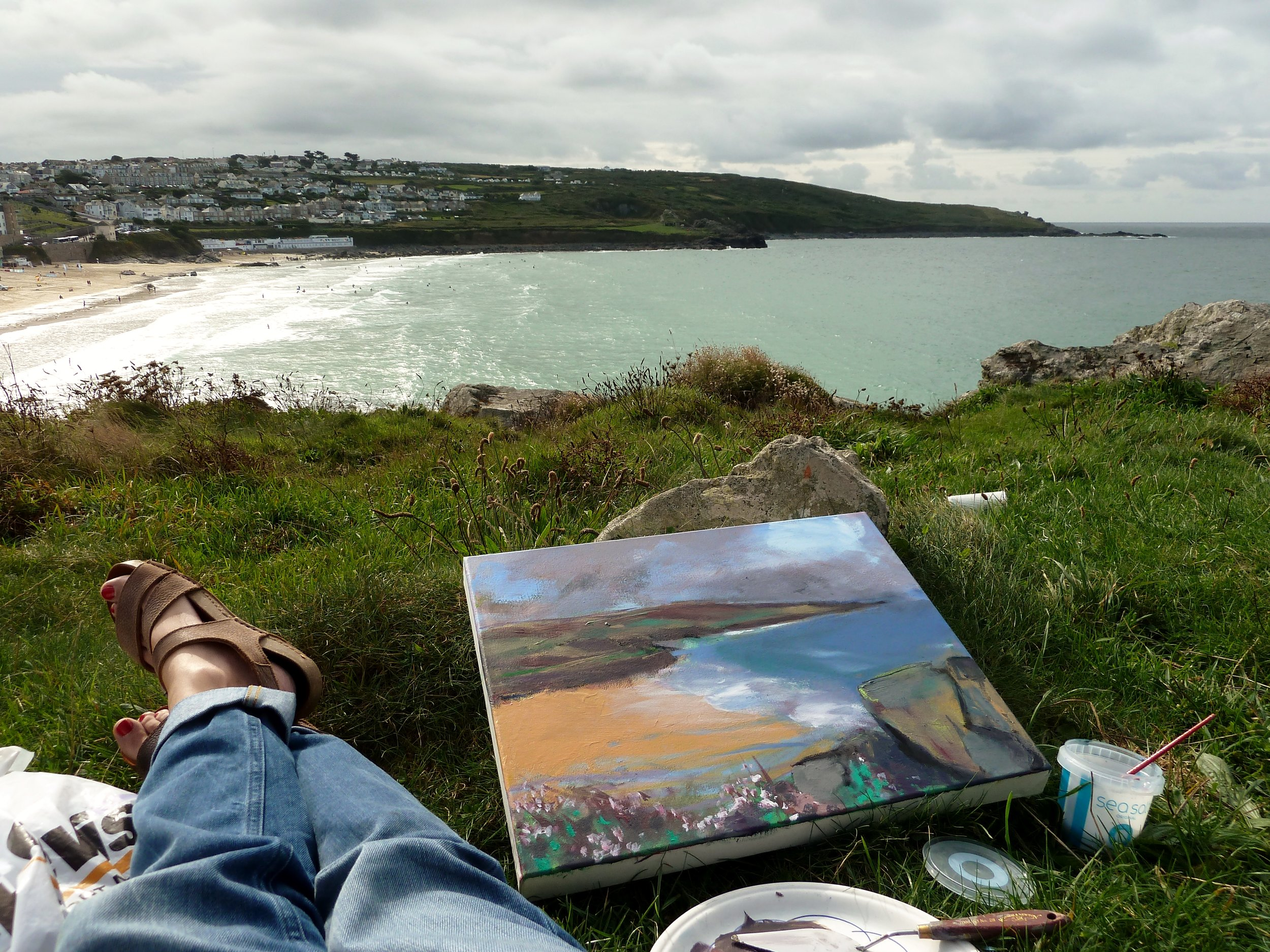 Painting on Porthmeor Sept16.JPG