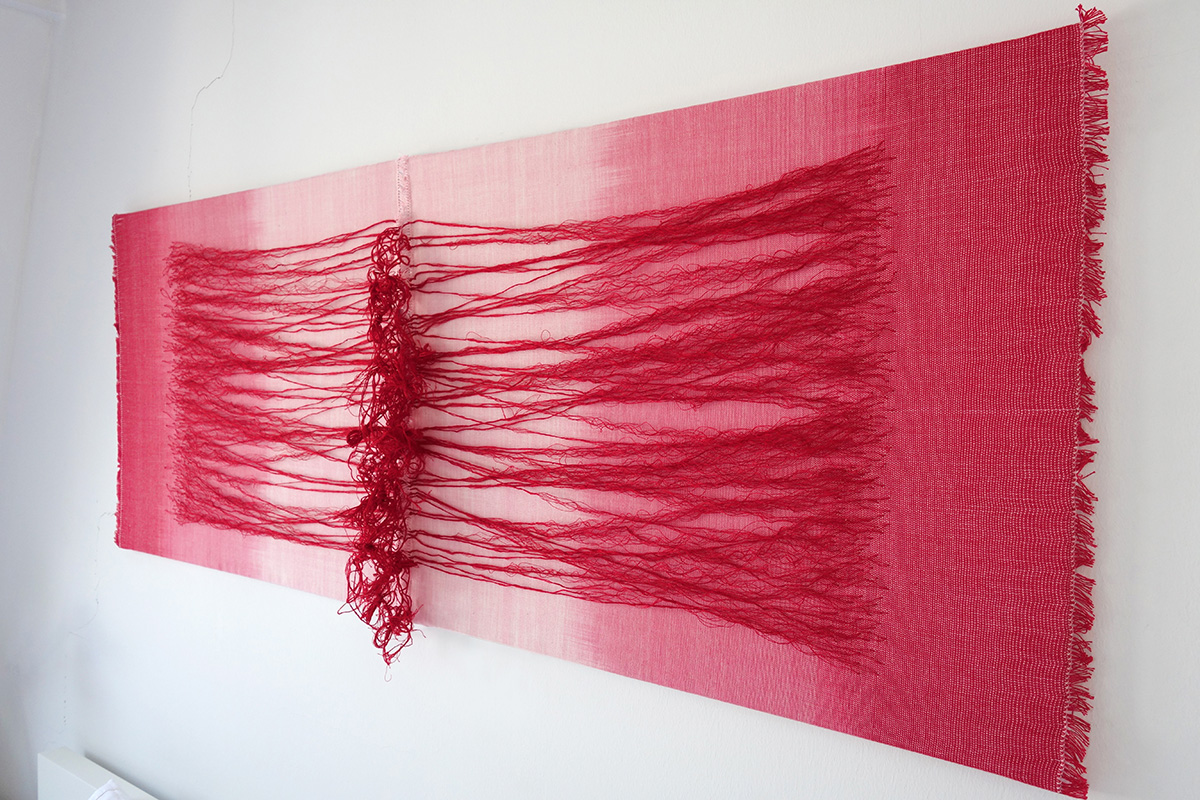 Red Noise   Cotton, silk, stainless steel fibres 1600 x 600 mm 2017