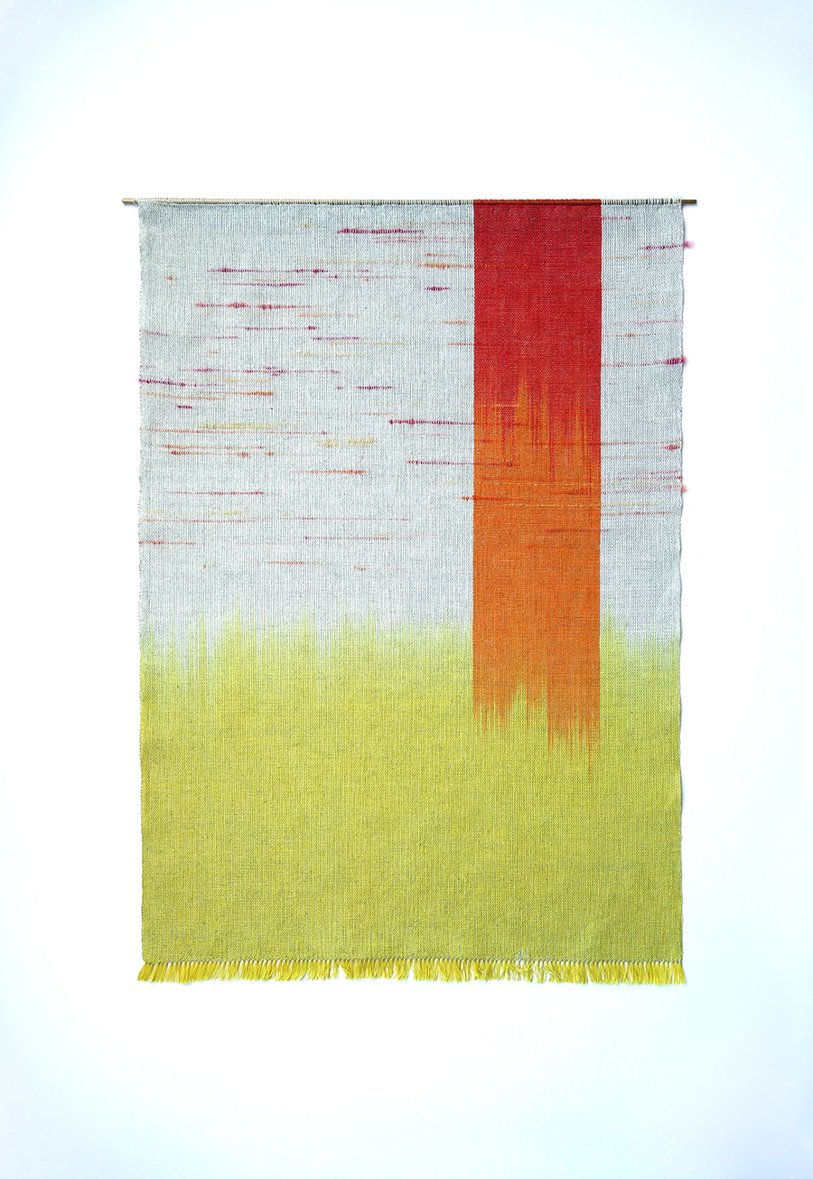 Plunging, Surging   Cotton, linen and wool fibres 470 x 660 mm 2015
