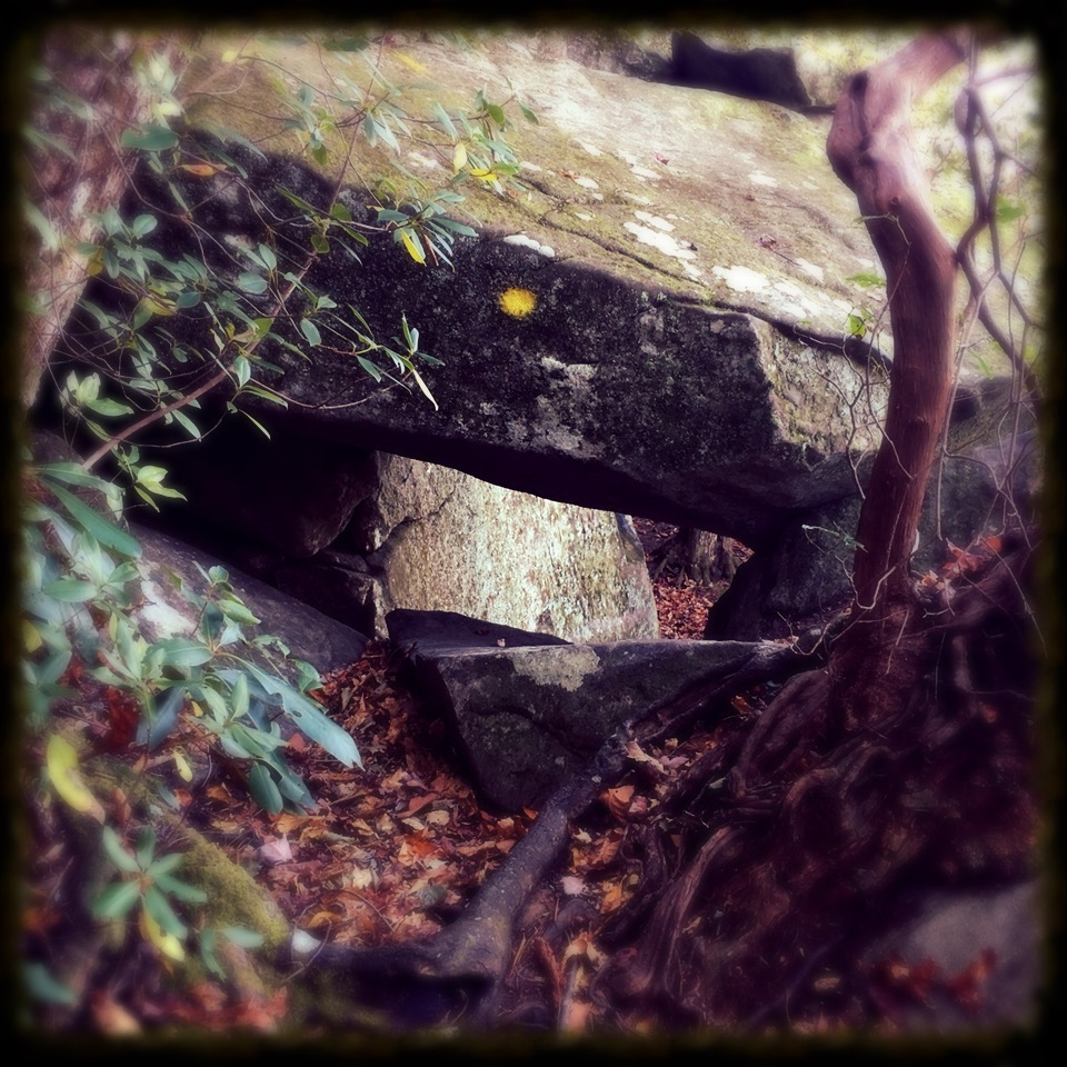 Take off your pack and follow the yellow blaze through that hole in the boulders! It's like Narnia.