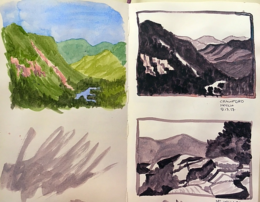 "From 9/17/17.  I'm applying some of what I learned about value sketching in a Craftsy class called ""Better Paintings with Watercolor Sketching""  with Angela Fehr.  Link below."