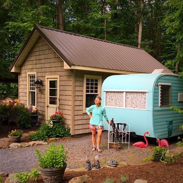 """The camper known as """"Trashy"""" at the Rock & Sole Hostel in Pennsylvania."""