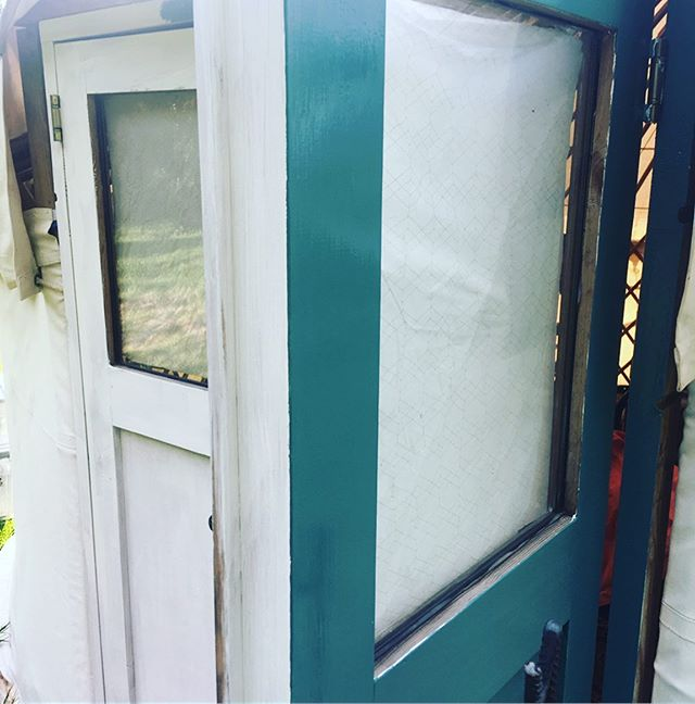 The yurt door with a bit of colour ~with the lovely colour name 'tea with florence'. . . . #upgrade #littlegreenepaint #yurtliving