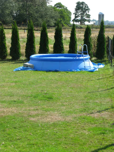 An outdoor pool during the warm months