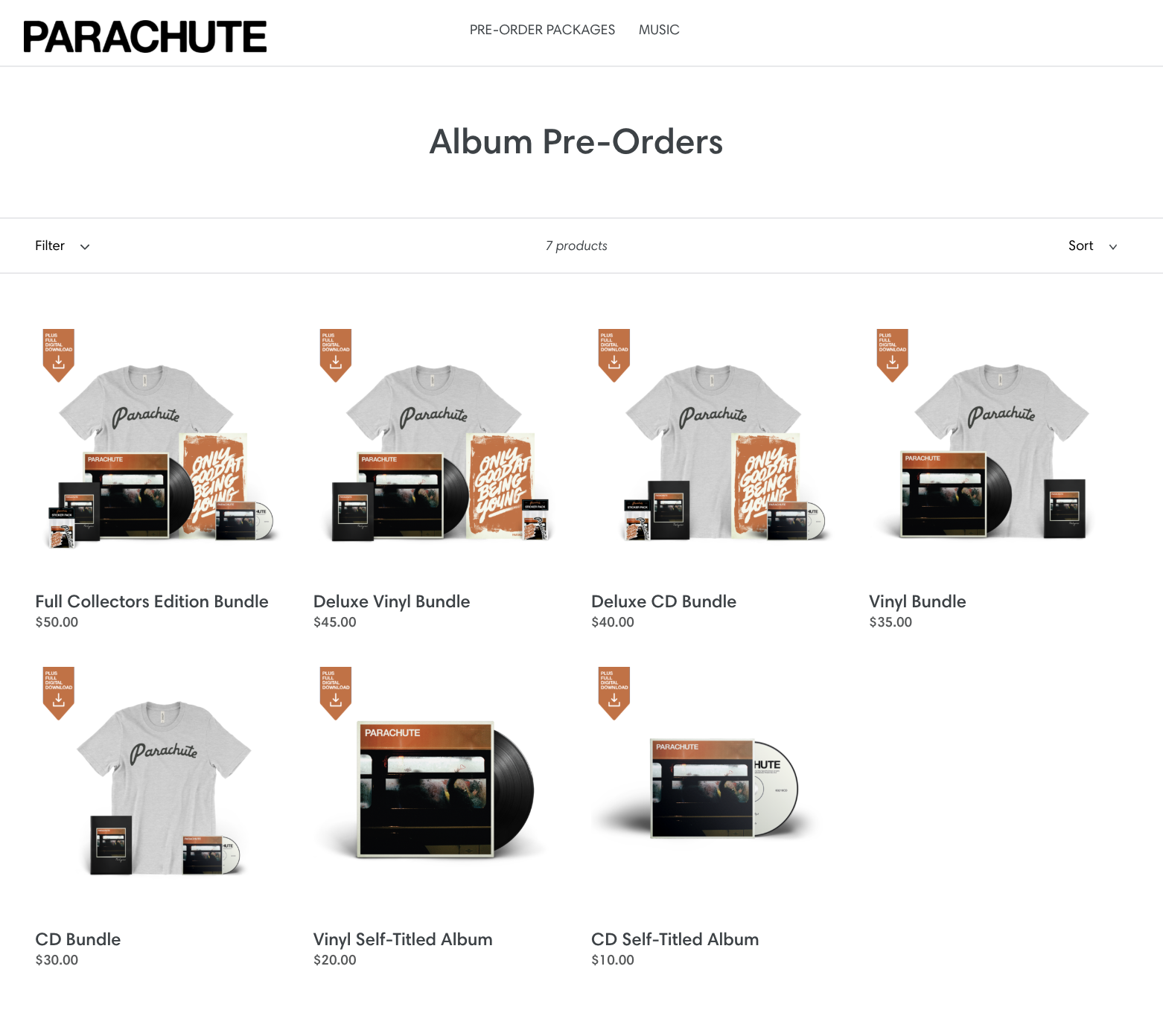Shopify + Single Music powered pre-order campaign for  Parachute