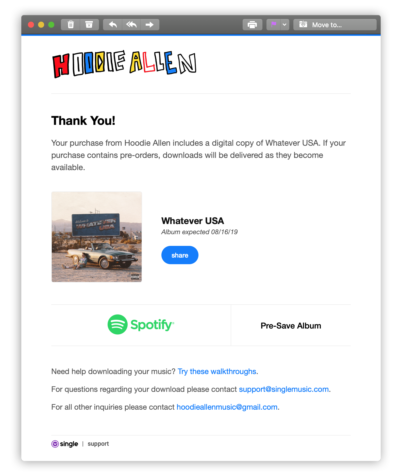 BoostLink email from  Hoodie Allen  pre-save campaign