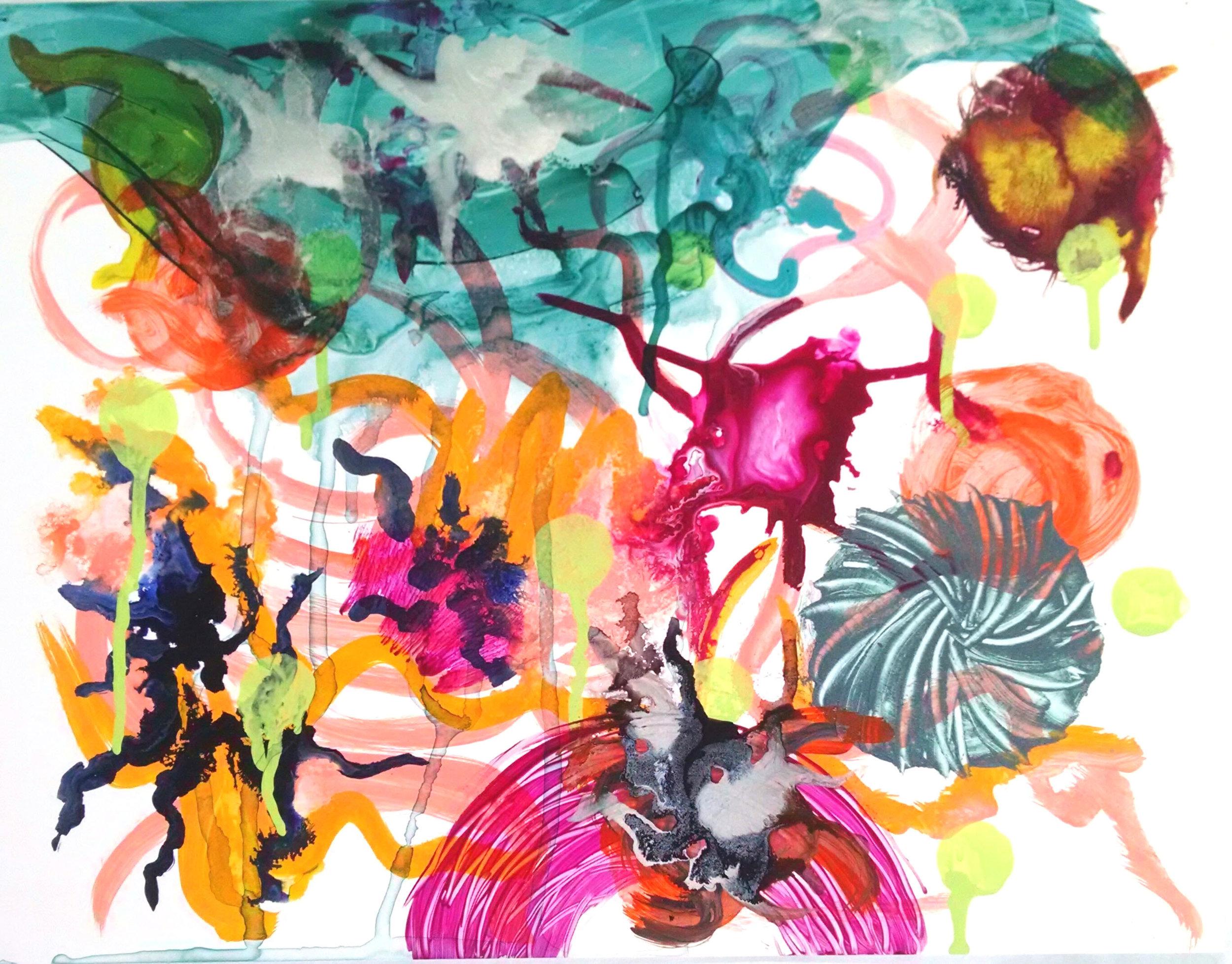 "Christine Sauer, ""Float"" 11x14"" acrylic on Yupo"