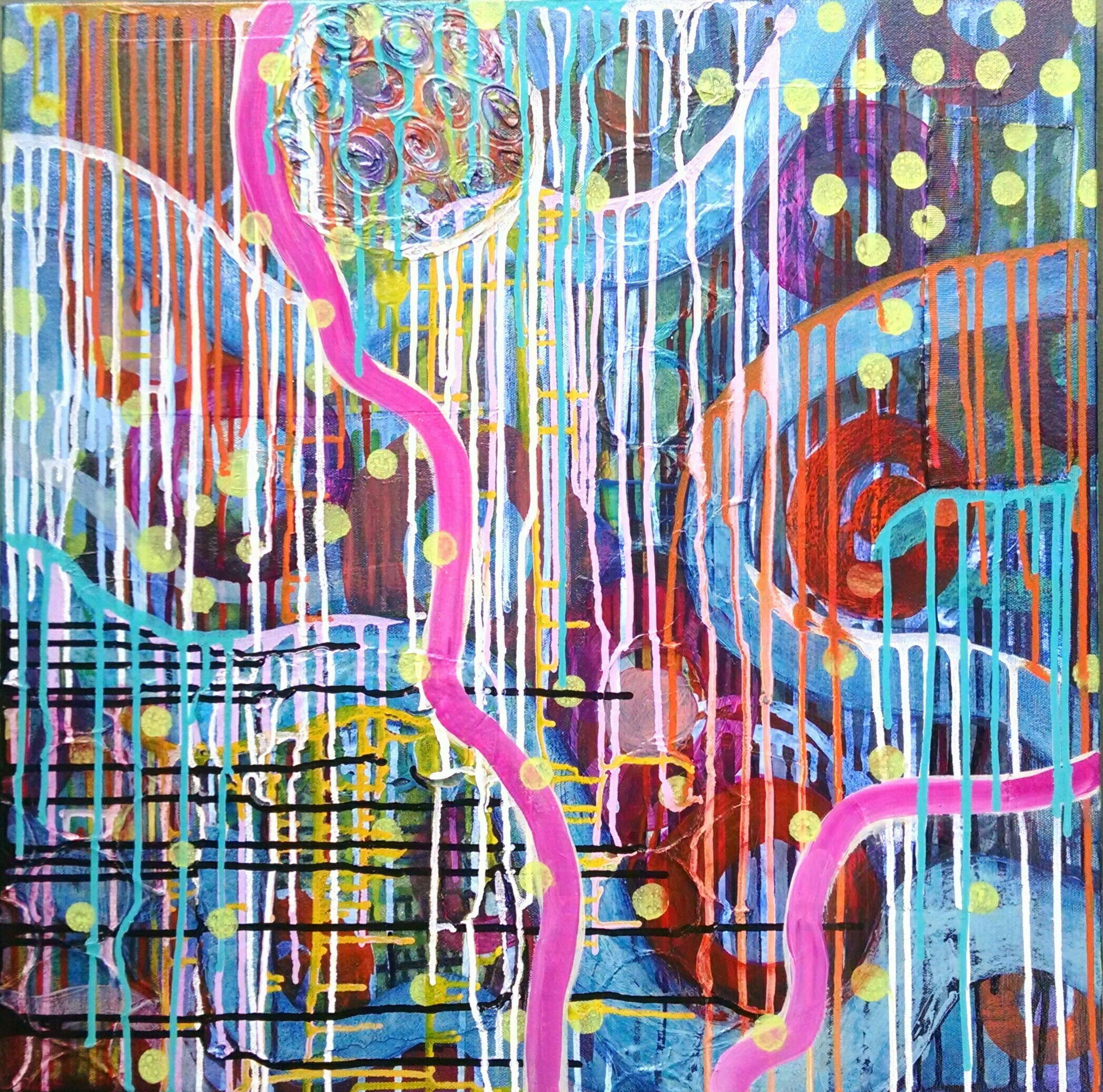 """Christine Sauer """"Marvels and Mysteries II"""" 24x24"""" $900, acrylic, mixed media on canvas"""