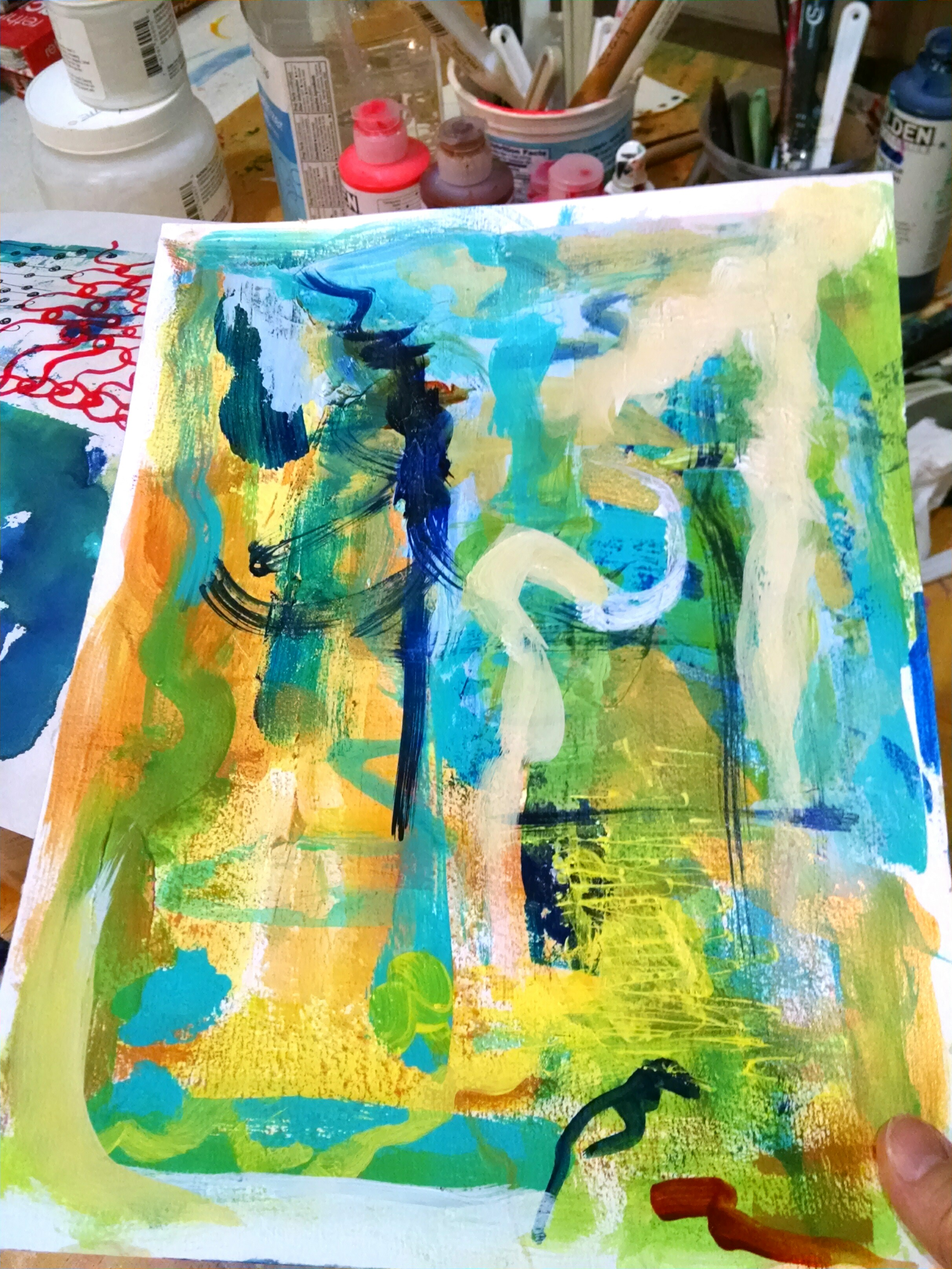 ©Christine Sauer, During painting sessions I always offload the leftover paint on my brushes and tools from the main project unto additional surfaces such as paper, raw canvas, and fabric.  This often yields interesting materials for collage or sometimes they become artworks on their own.