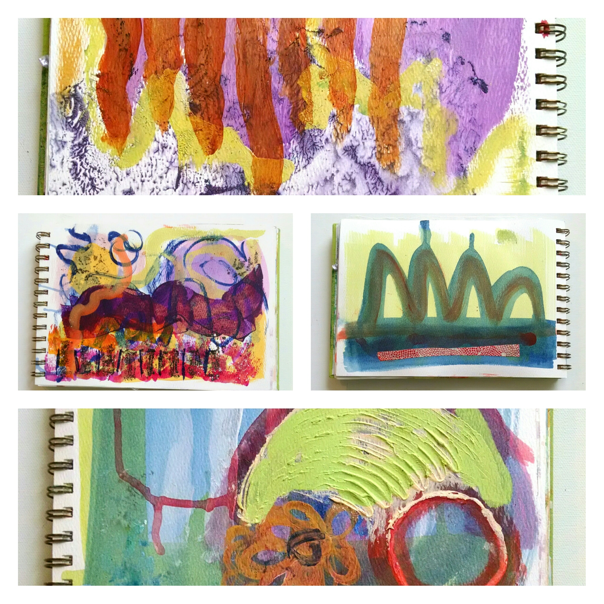 ©Christine Sauer,  paint journal experiments with acrylic paints.  STUDIO TIP:  Use wax paper or cooking parchment as interleaving to keep pages from sticking together.
