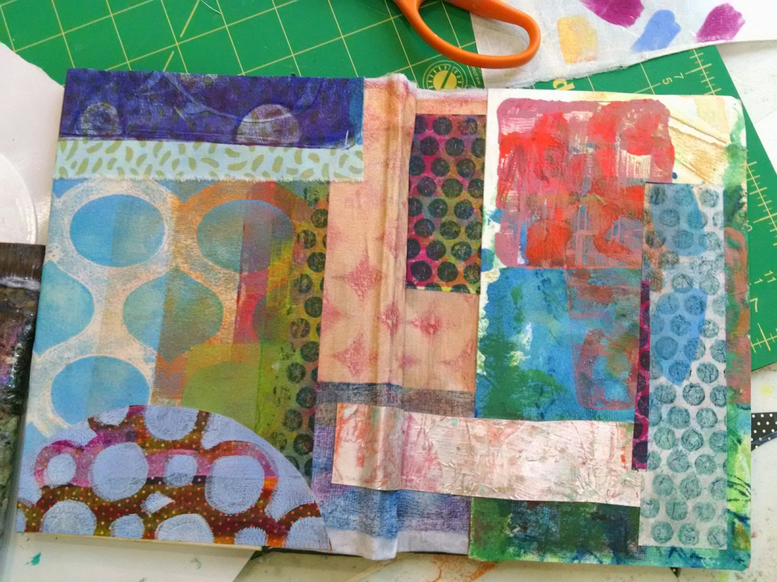©Christine Sauer, collaged front and back journal cover using monoprinted paper and fabric.