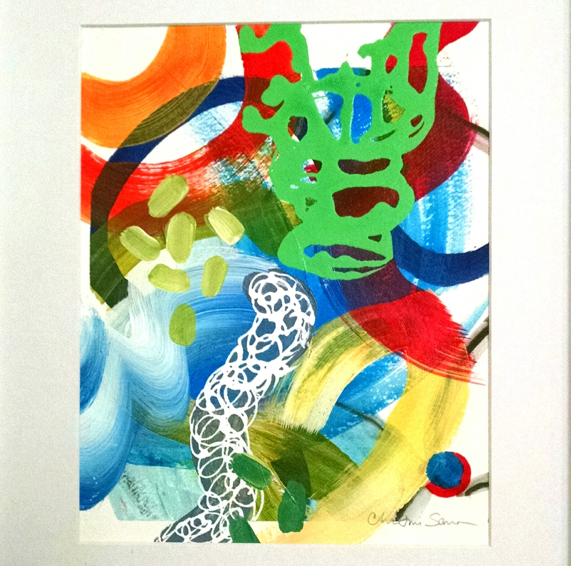 "Christine Sauer ""Free Play IV"" 10x8"" , acrylic on paper"