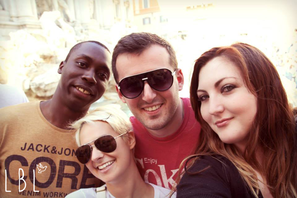 The 4 of us at the Trevi fountain in Rome