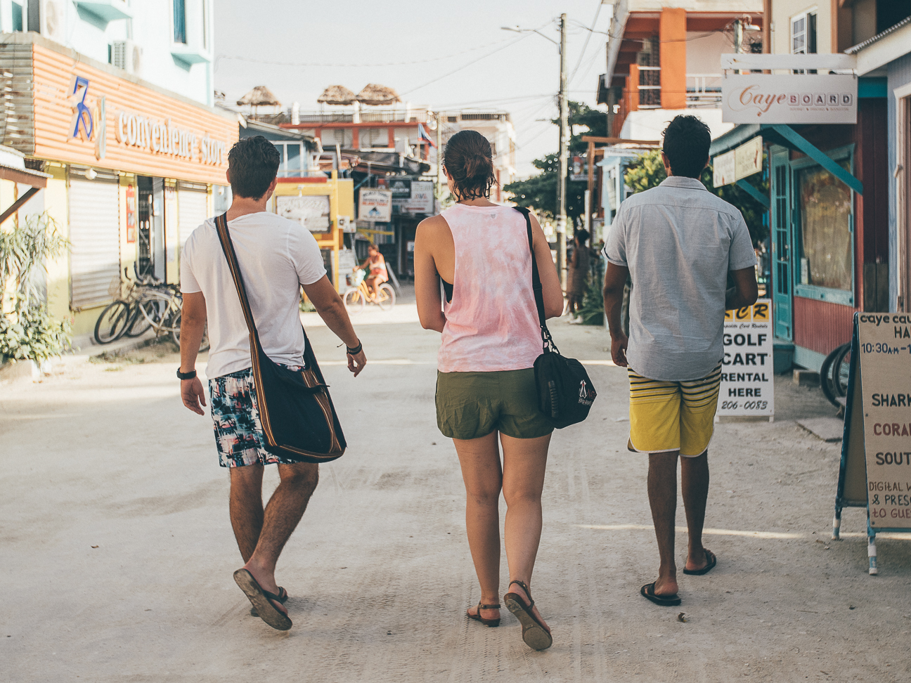 exploring the island of Caye Caulker on foot, after a dip into the ocean at the Split