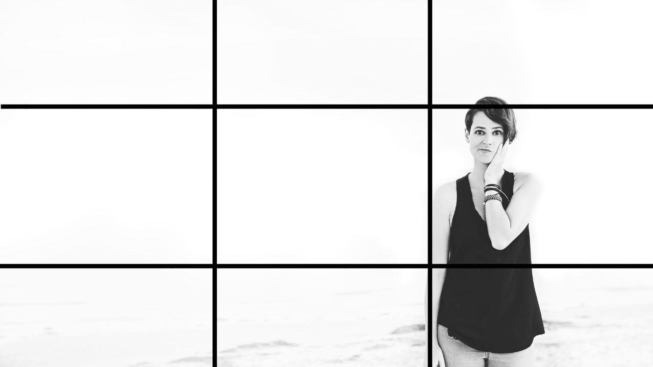 the rule of thirds visualized with the 3 sections horizontally and vertically … and me looking silly.