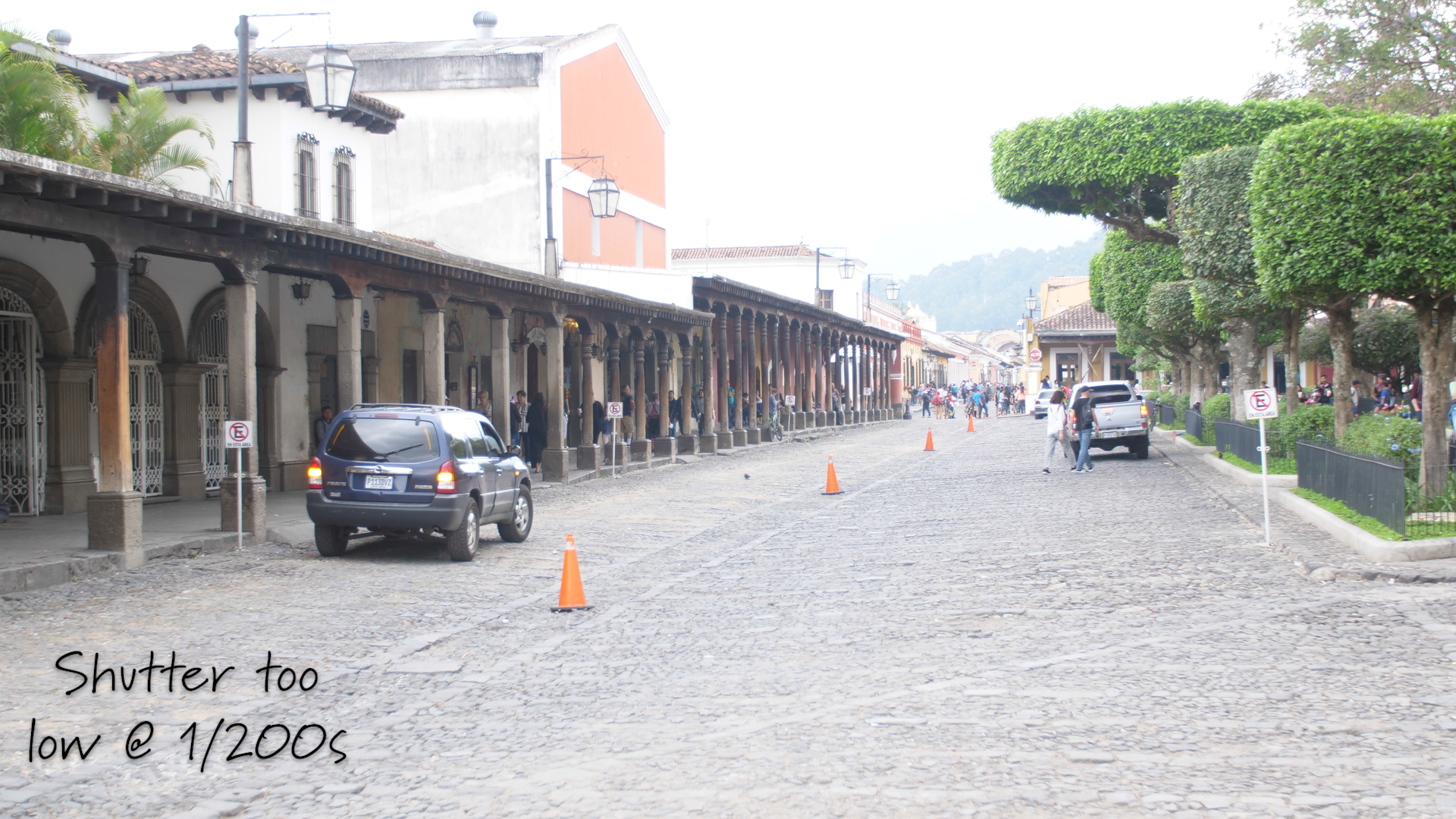example of having set my shutter too low during the day in Antigua, Guatemala