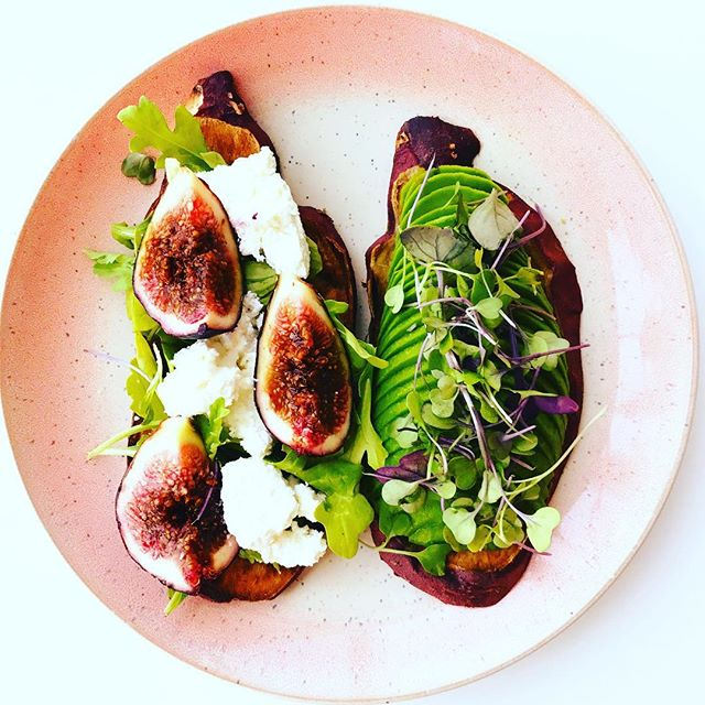 Sweet potato toast inspired by @styledbyskylar. Sliced up Japanese sweet potatoes (my fave) and topped one with arugula, hand spun ricotta from @wholefoodssanfrancisco (obsessed) and figs and another with avocado and micro greens. Almost too pretty to eat, but way to tasty not to. Hope your day was filled with beautiful and delicious food 😍❤️👌🏻!