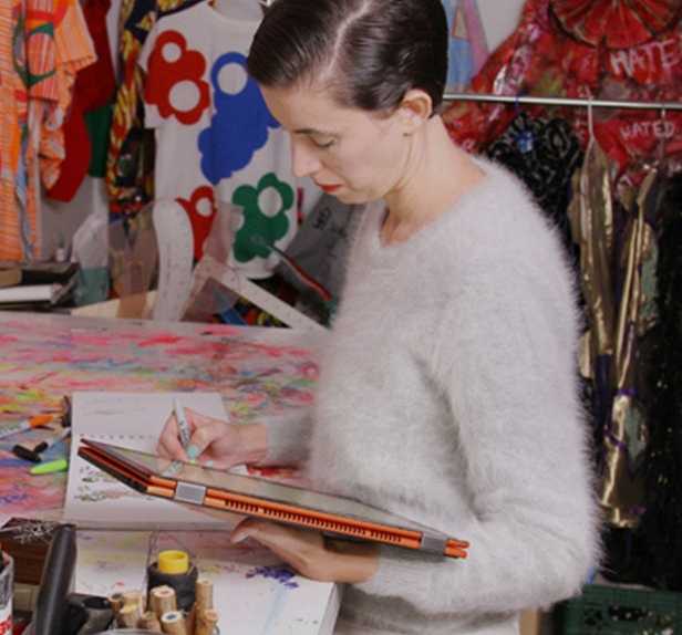 Christian, at work in her studio