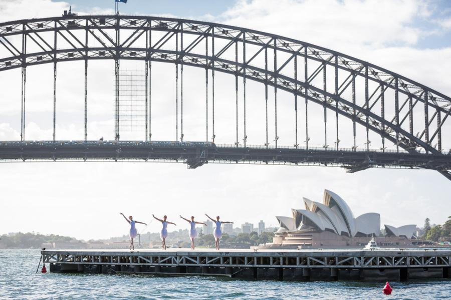 : Swan Lake dancers on Sydney Harbour Sydney Harbour Sydney