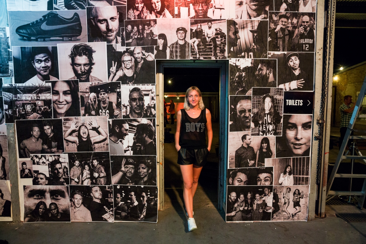 Cybele at the Nike Tiempo launch where she shot these portraits and printed and pasted them up live at the event