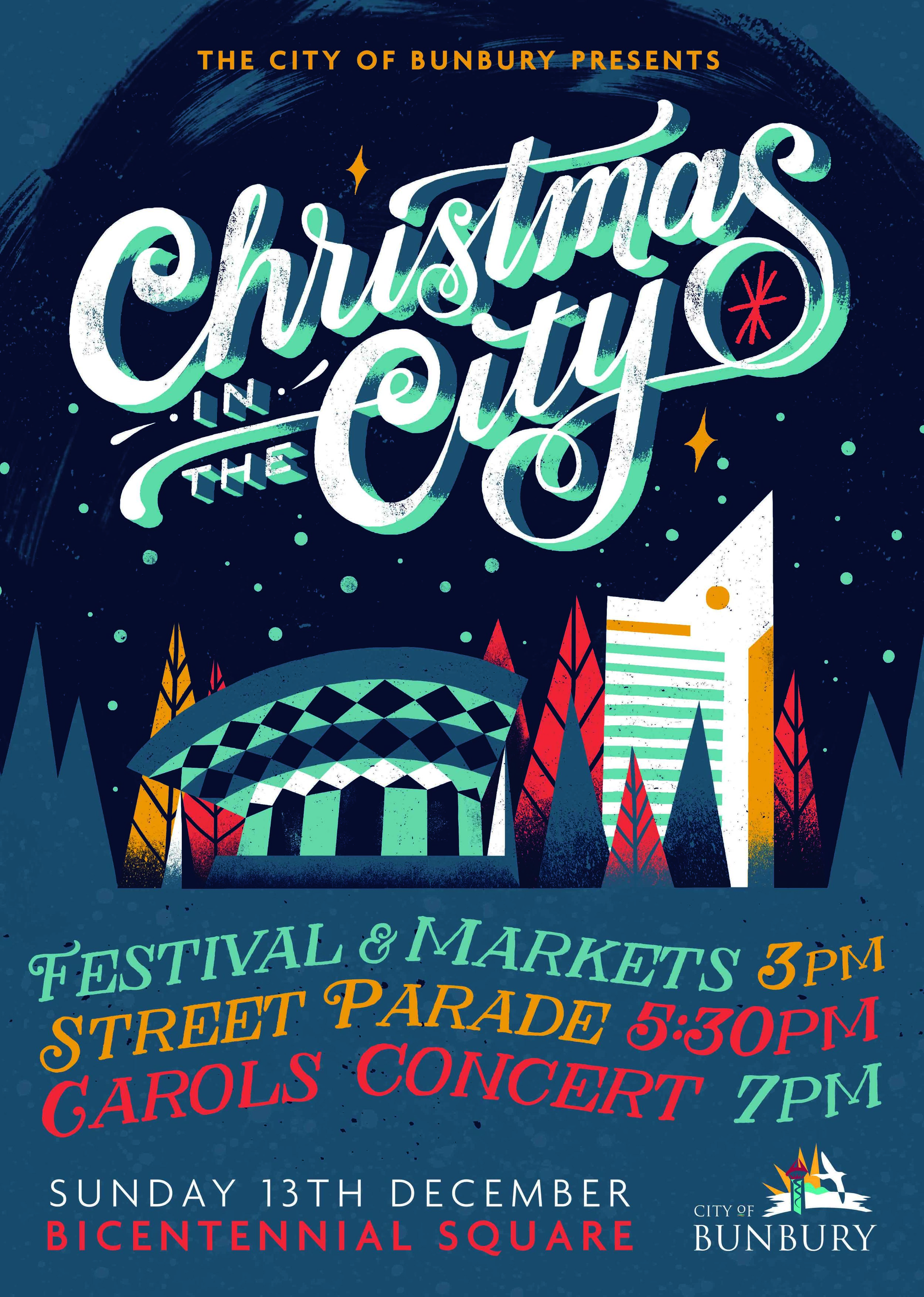 city of bunbury | christmas in the city (feat. illustration by chris nixon)