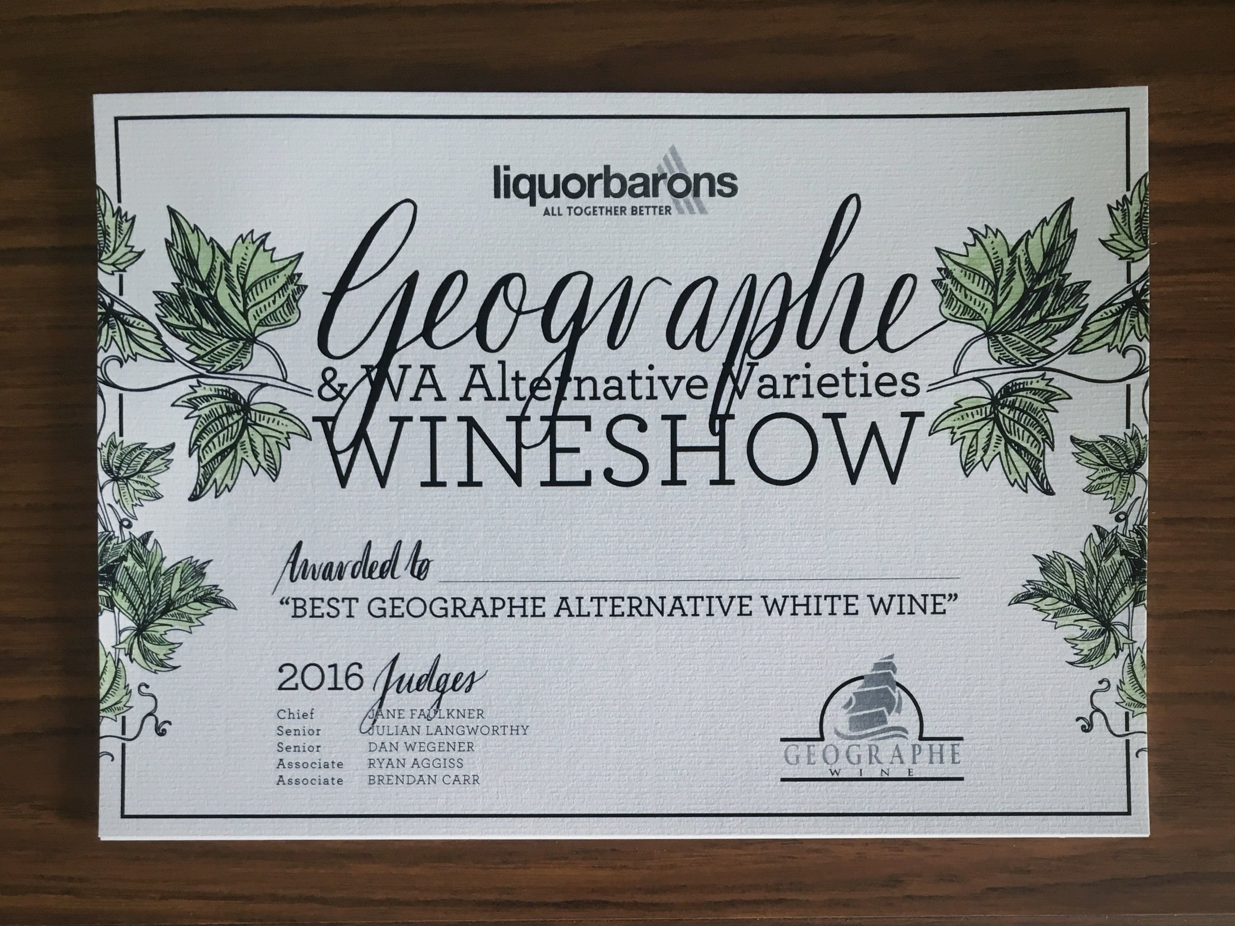 Geographe Wineshow / custom certificates
