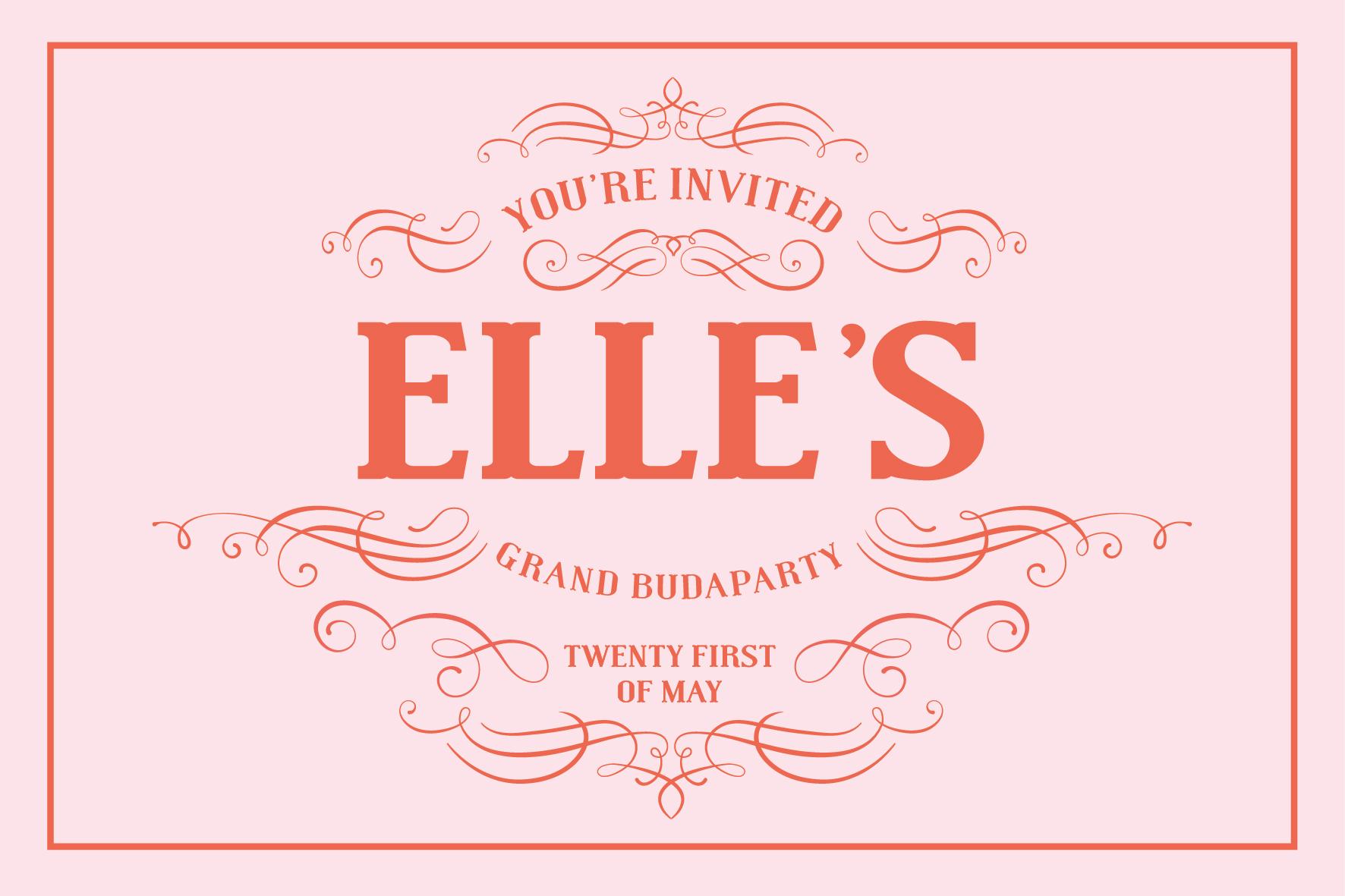 "elle / custom ""grand budapest"" birthday party invitation"