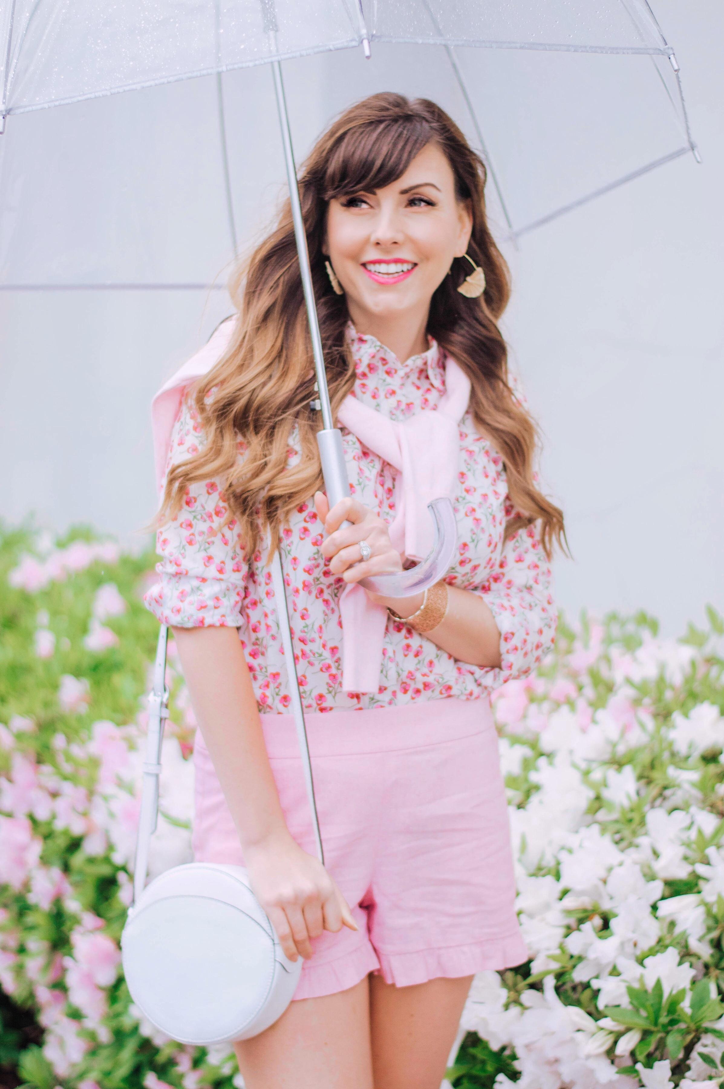 pink ruffle shorts floral blouse.JPG