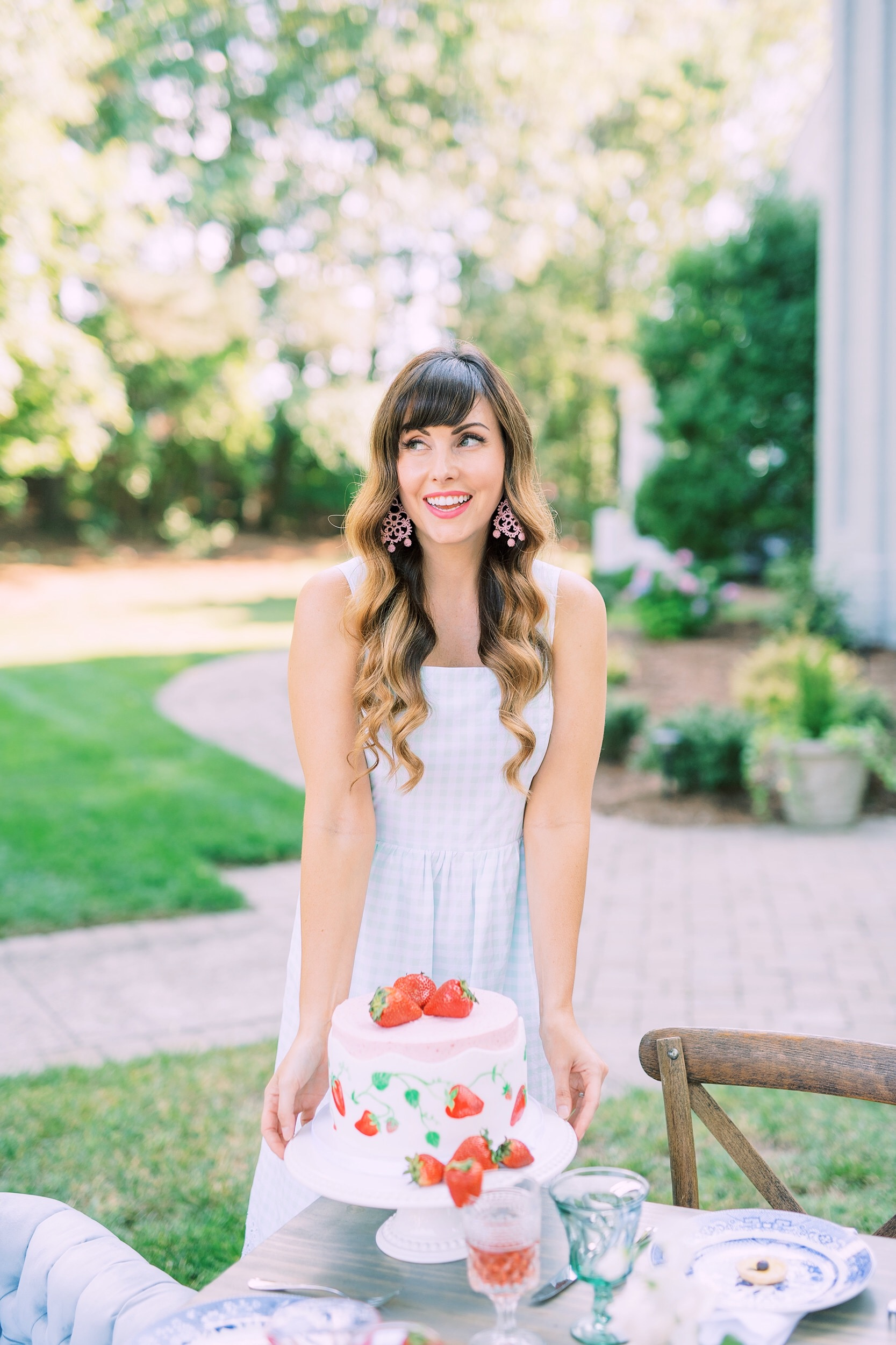 draper james gingham dress and strawverry cake.JPG