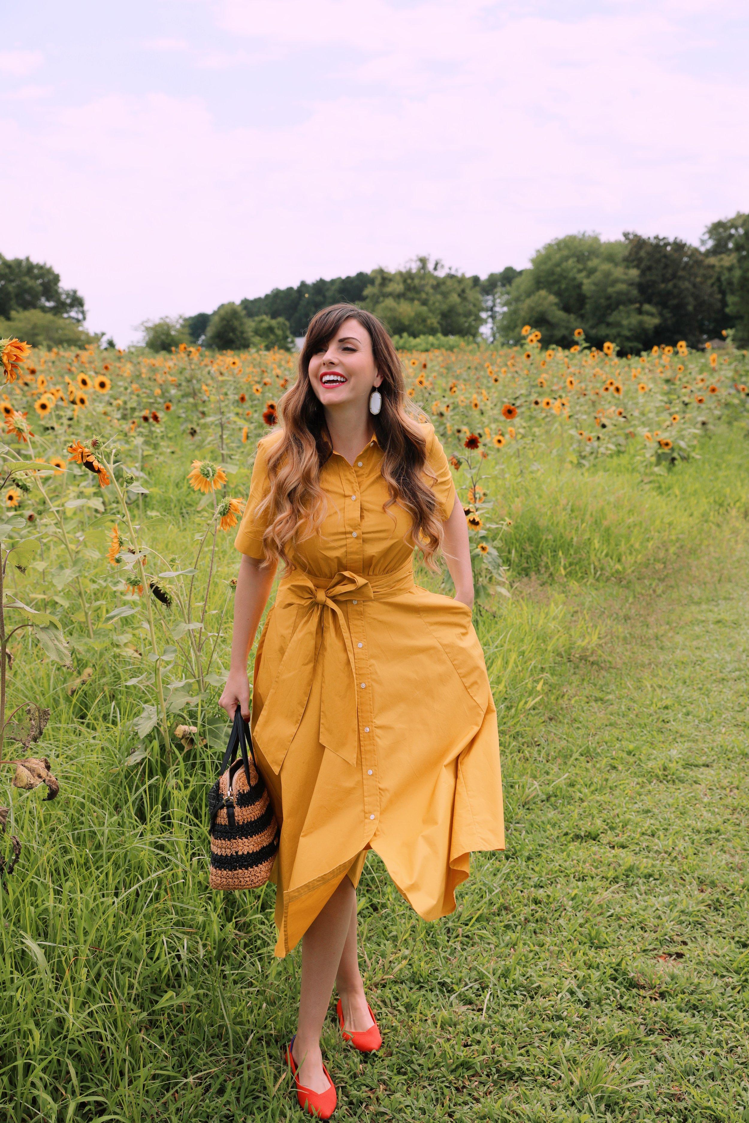 yellow shirt dress in sunflower field.JPG