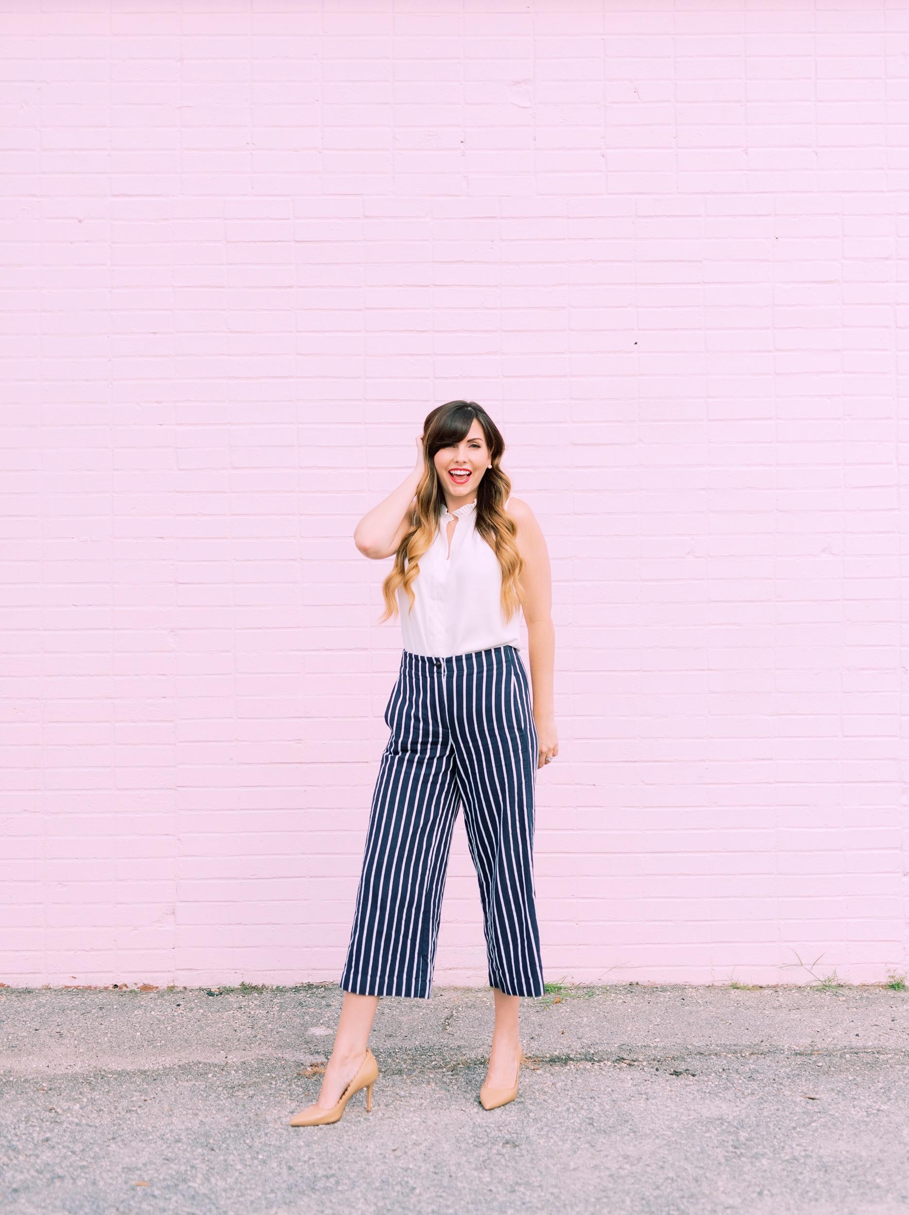 Striped Sale work pants modern woman.JPG