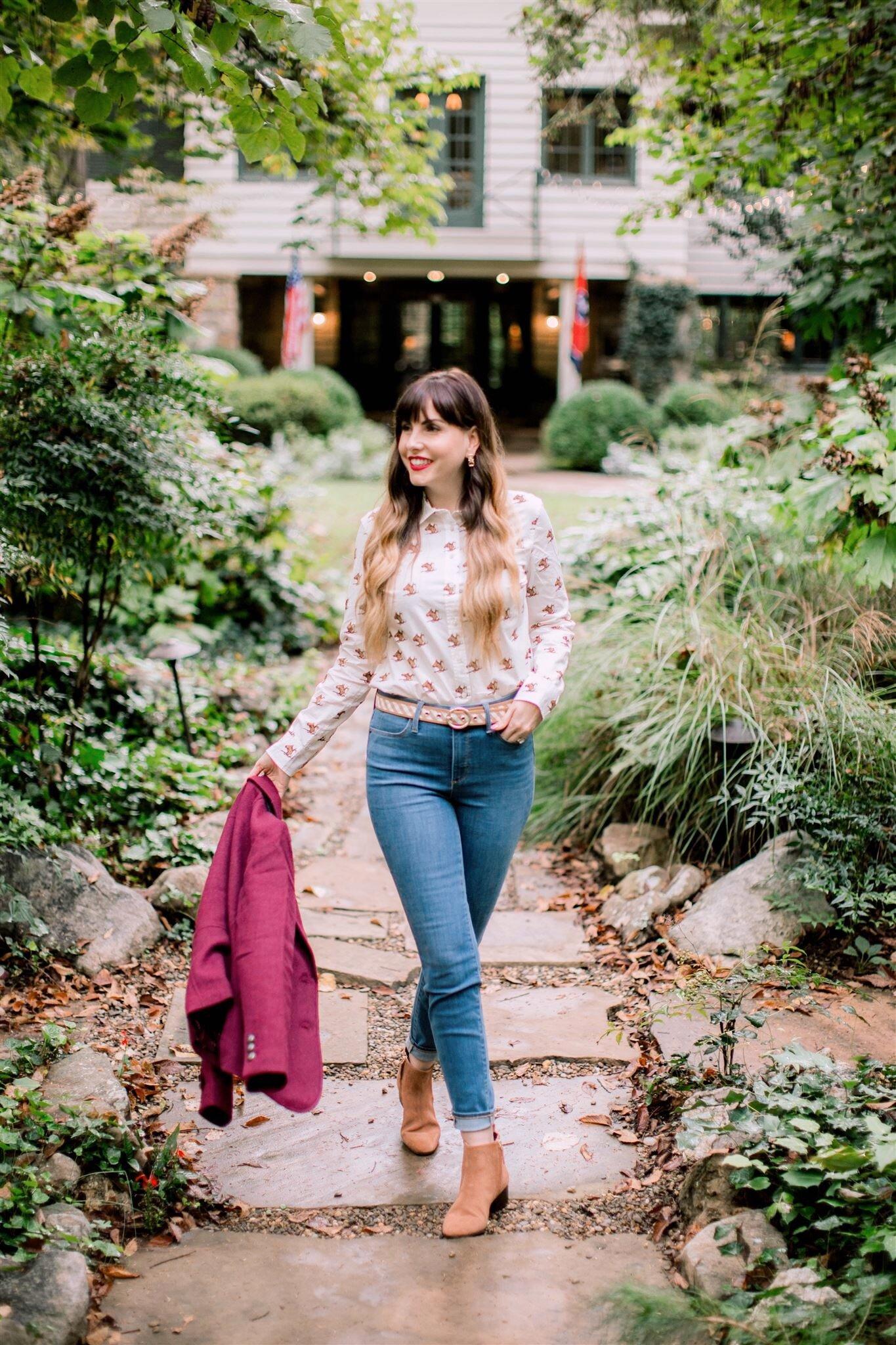 Equestrian Fall outfit burgundy blazer.JPG