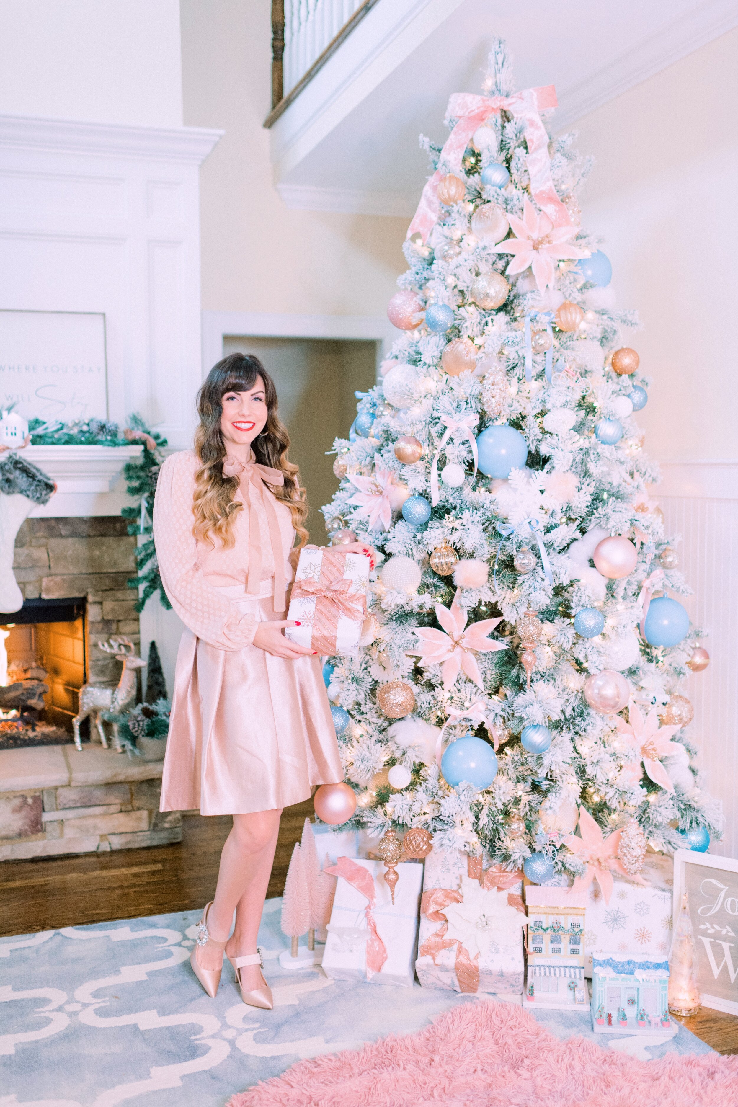 Flocked French Blue And Blush Pink Christmas Tree Frapps And Frills