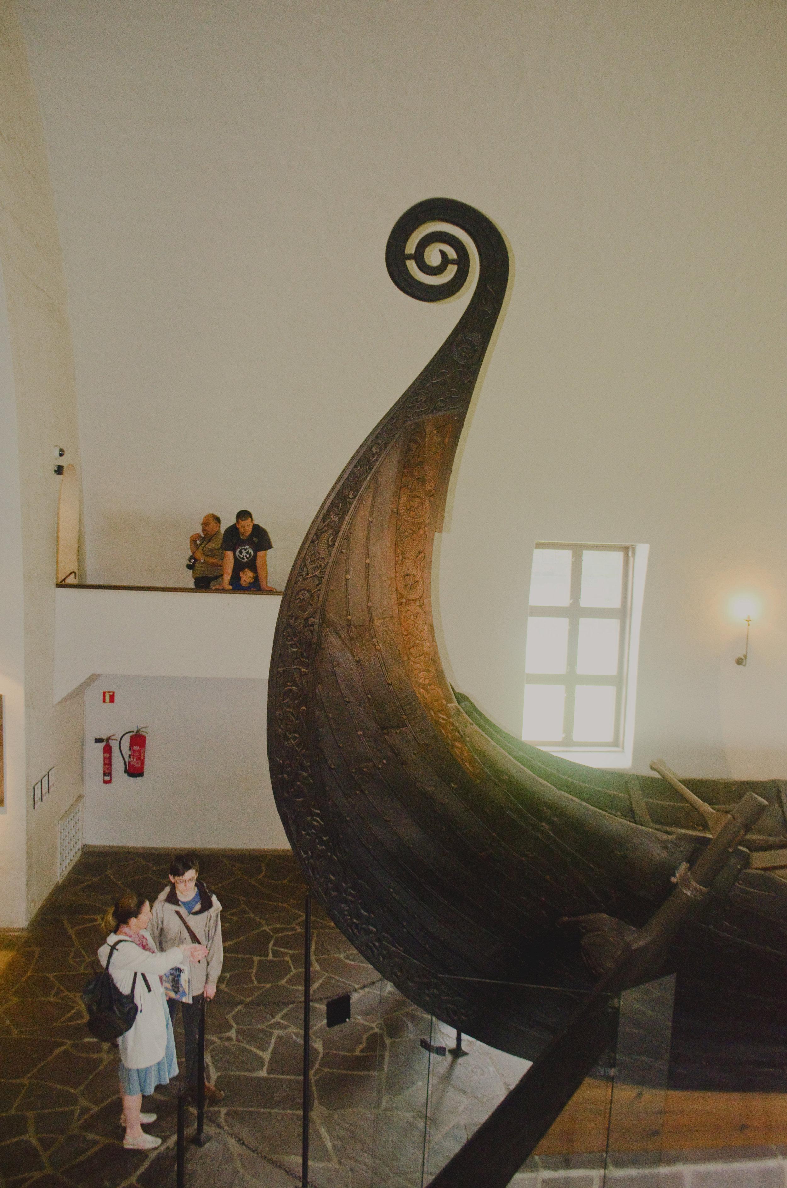 Detailed woodwork on the Oseberg ship