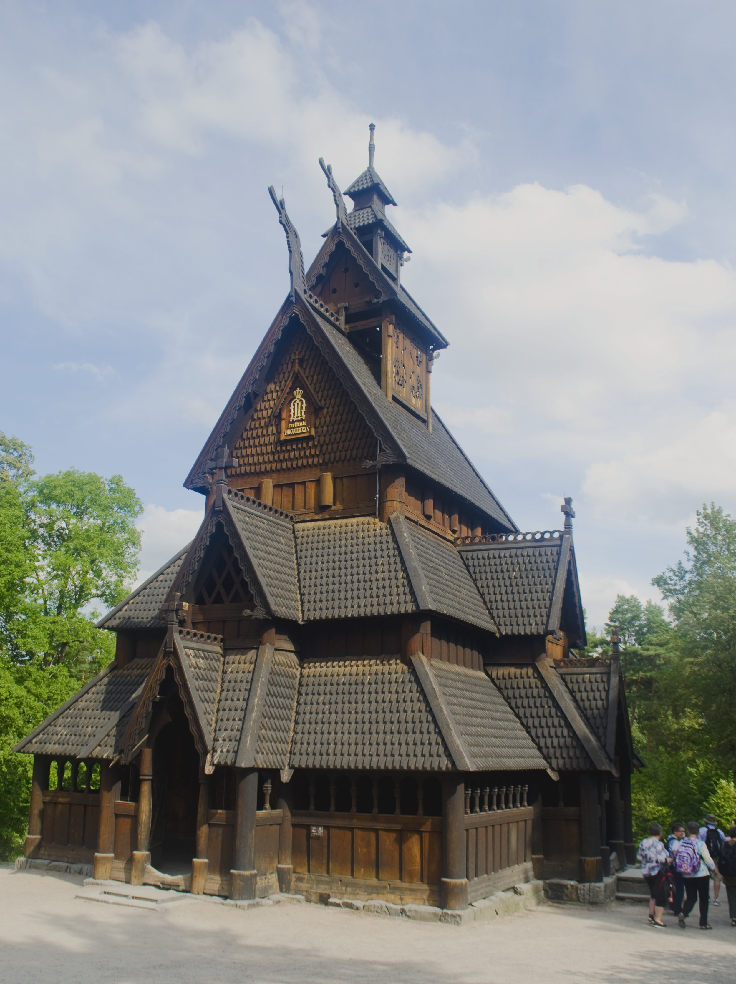 This is the stave church in Oslo, but it gives you an idea of what the Fantoft one is like!