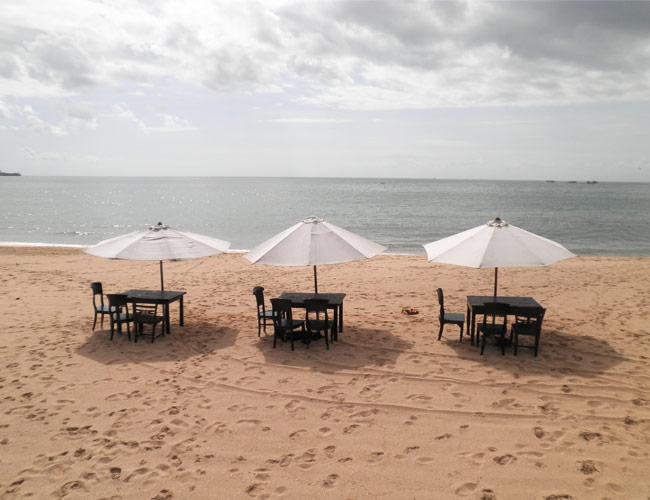 Beachside umbrellas in Bali