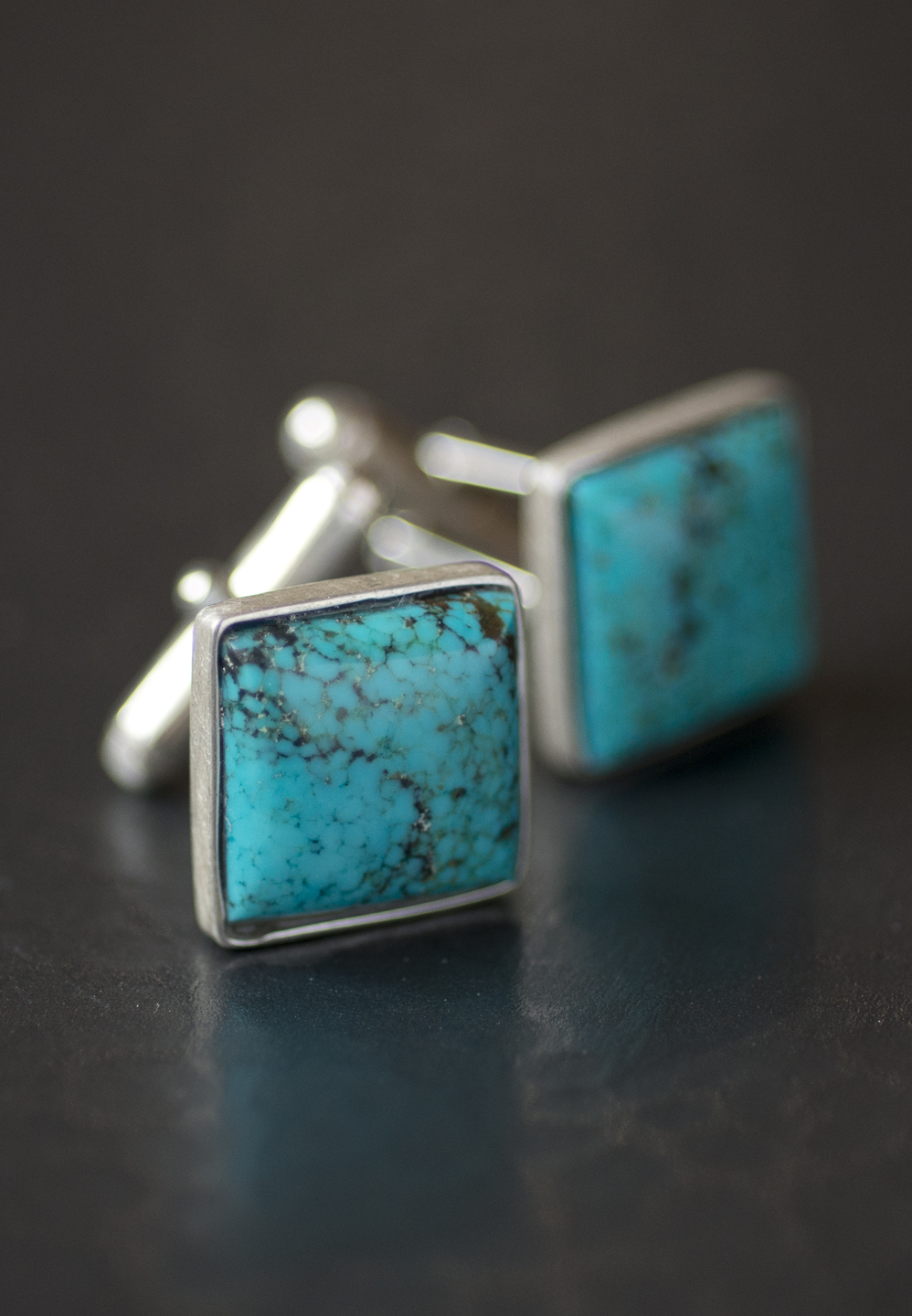 handcrafted turquoise cufflinks in sterling silver