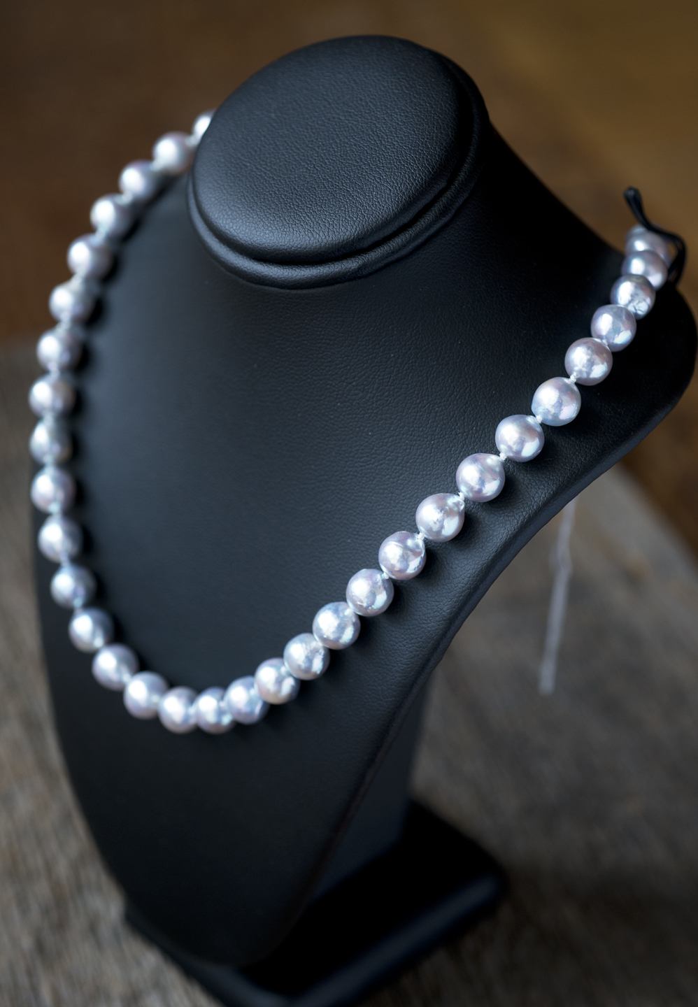hand-strung akoya pearl strand in natural silver-tone color
